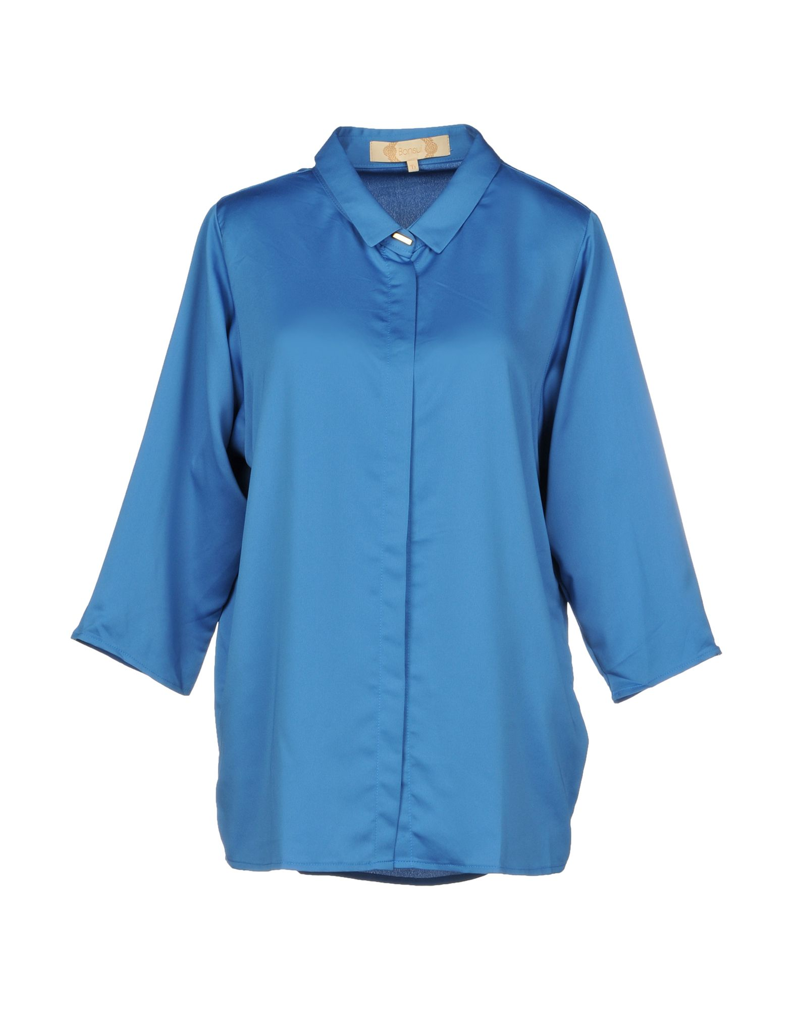 BONSUI Solid Color Shirts & Blouses in Azure