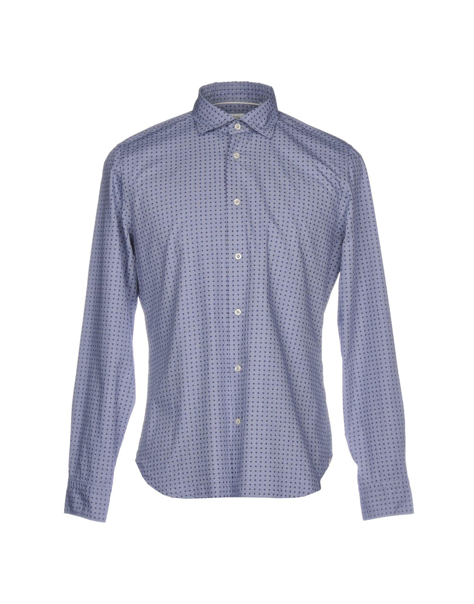 《送料無料》MASTRICAMICIAI メンズ シャツ ブルーグレー 40 コットン 100%