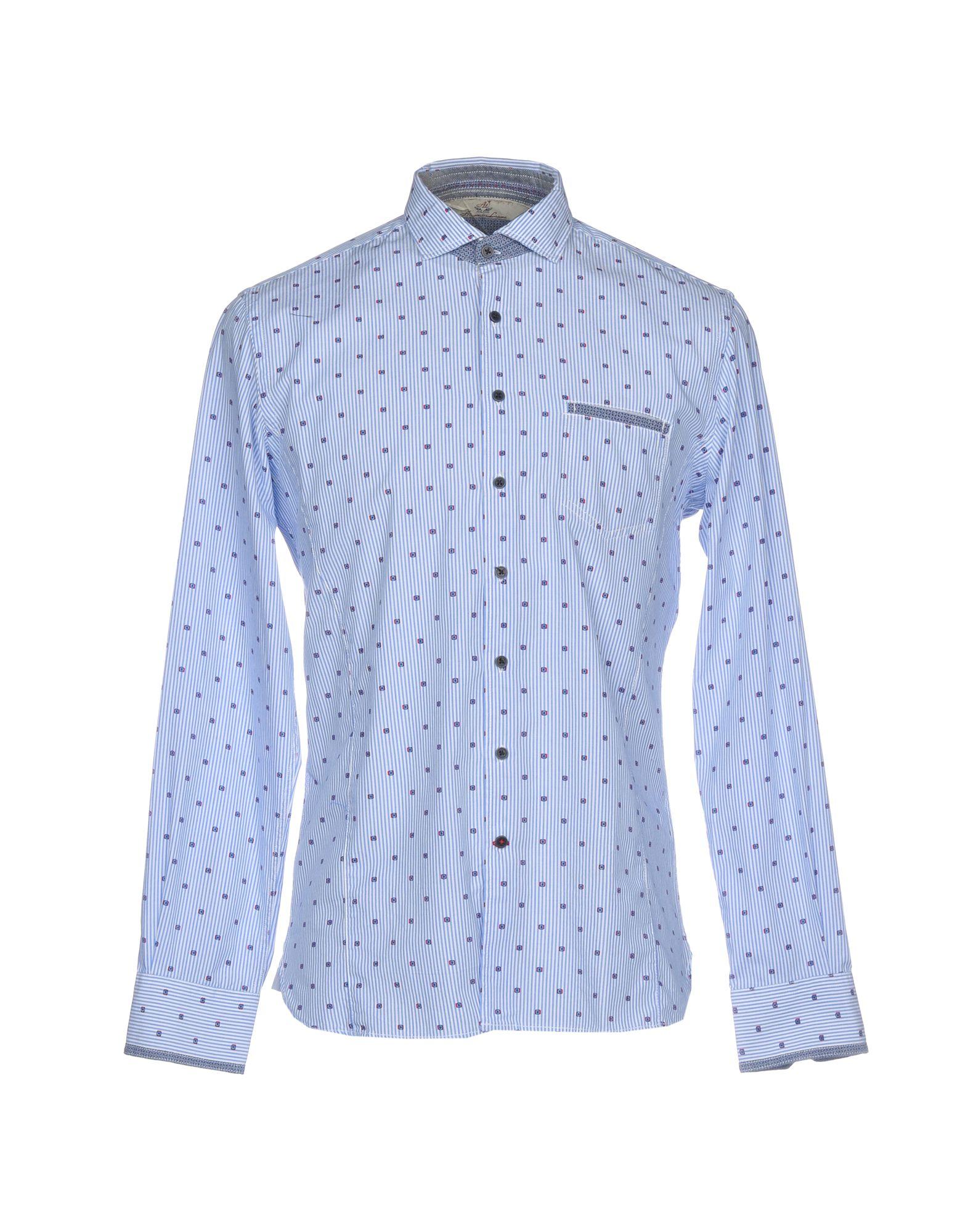 《送料無料》ALESSANDRO LAMURA メンズ シャツ アジュールブルー L コットン 100%