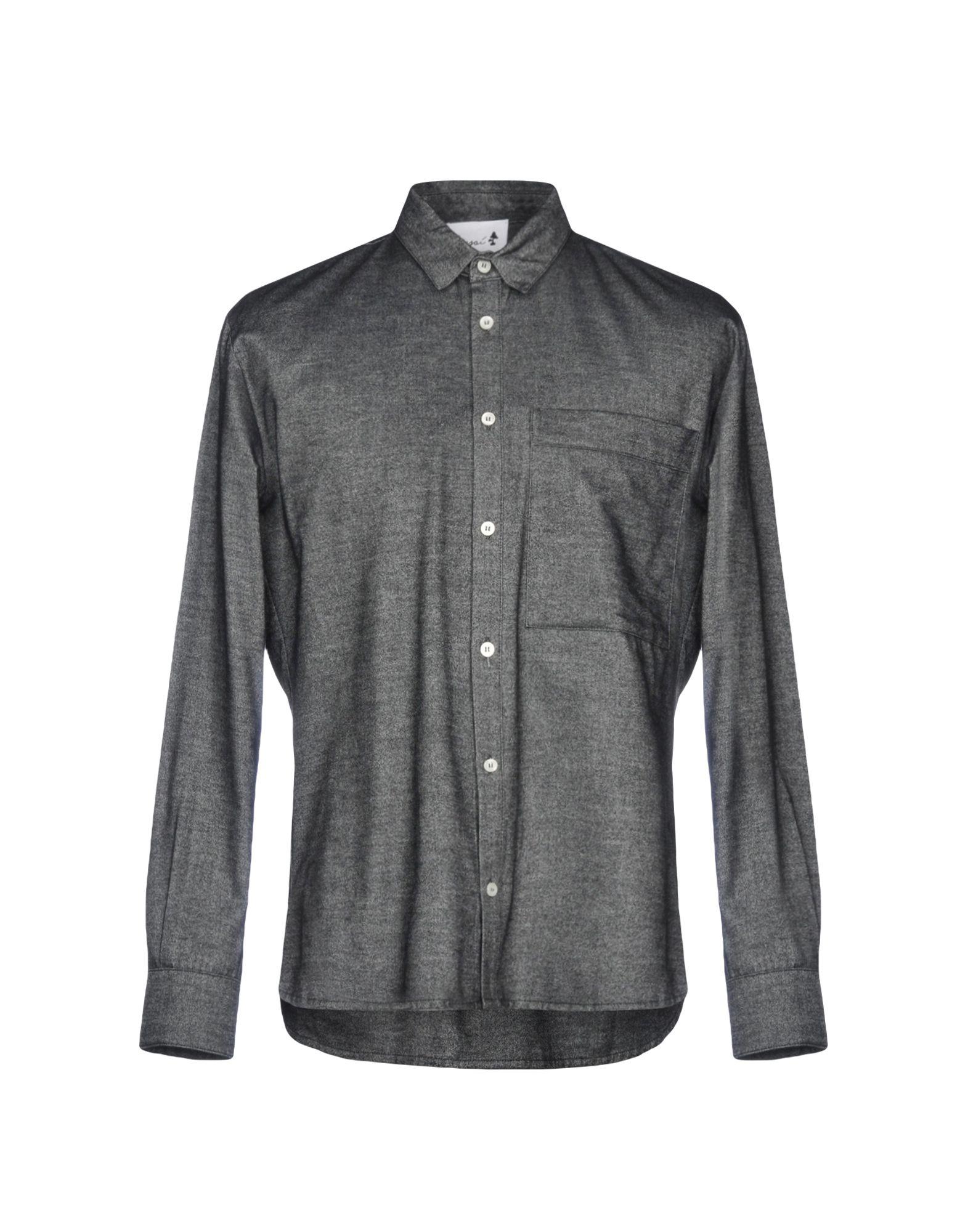 《送料無料》BONSAI メンズ シャツ スチールグレー M コットン 100%