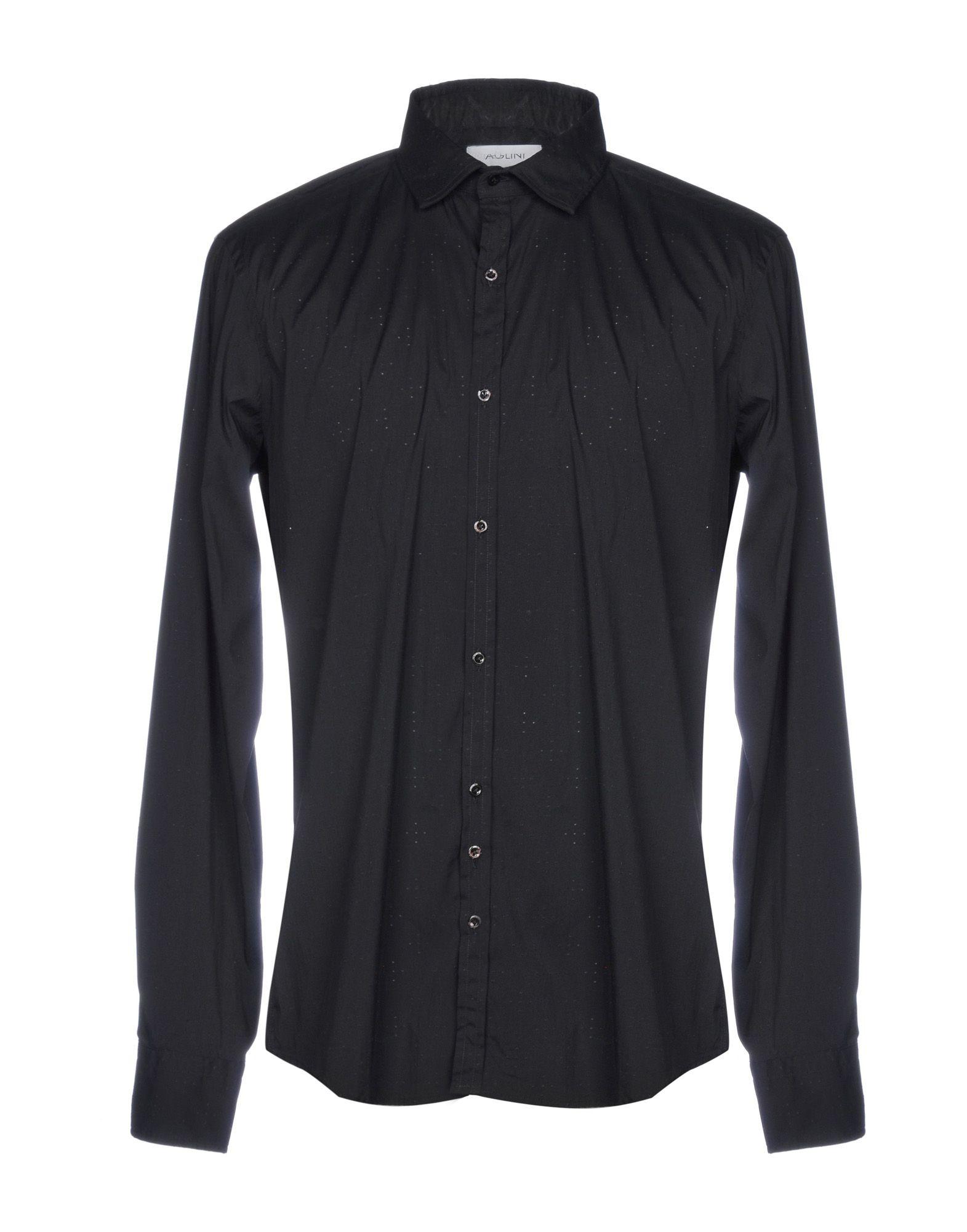 《送料無料》AGLINI メンズ シャツ ブラック XL コットン 100%
