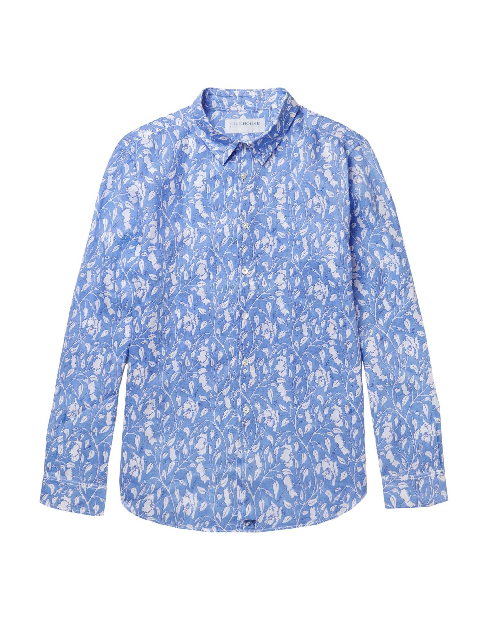 《送料無料》PINK HOUSE MUSTIQUE メンズ シャツ アジュールブルー S 麻 100%