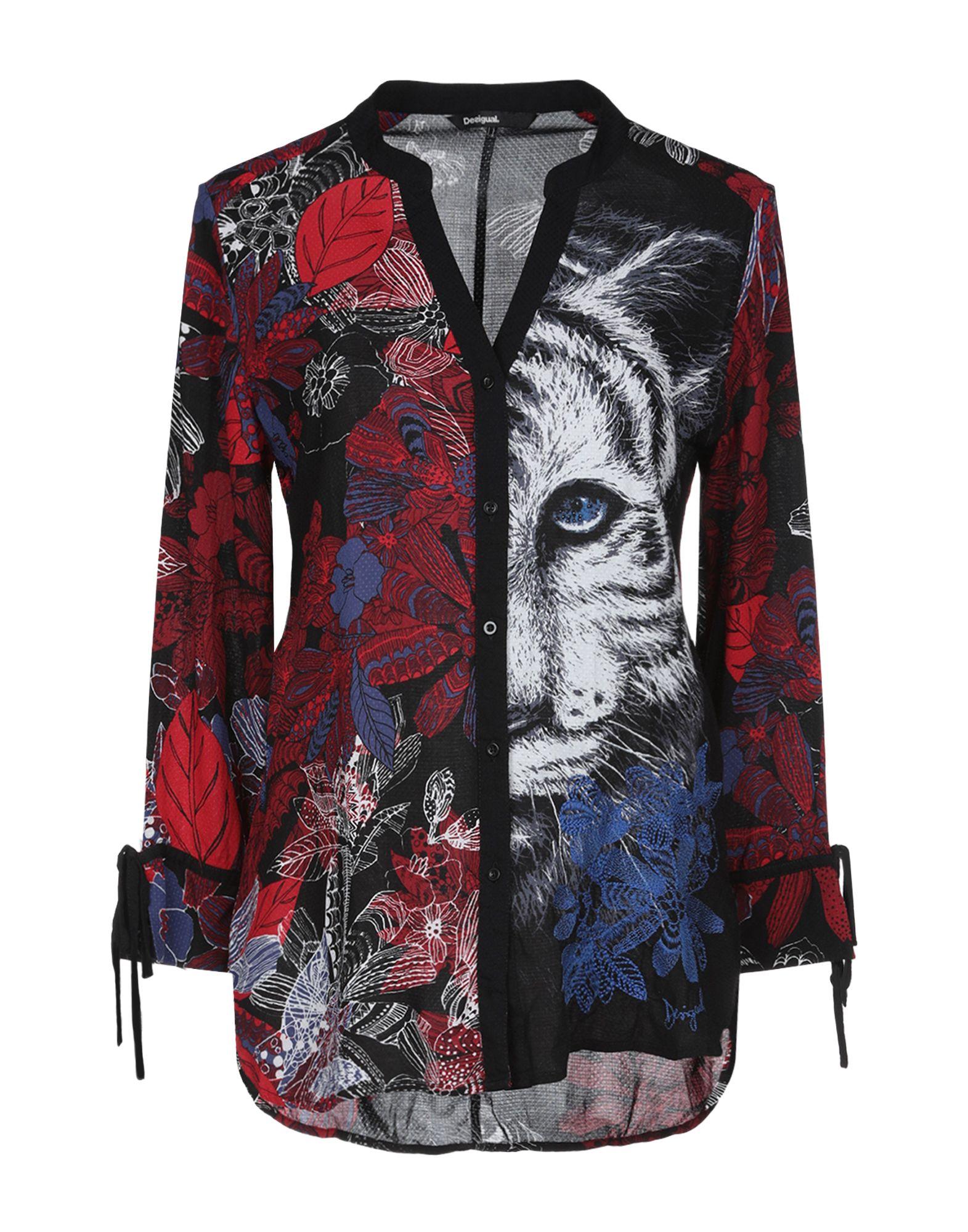 《送料無料》DESIGUAL レディース シャツ ブラック XS レーヨン 100%