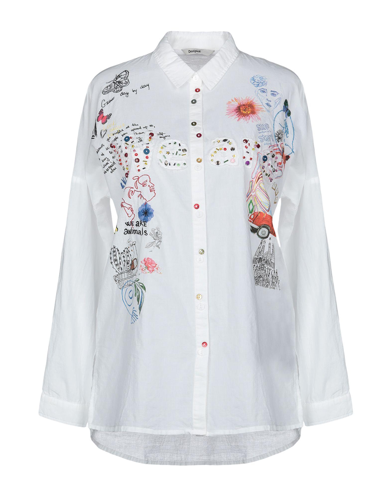 《送料無料》DESIGUAL レディース シャツ ホワイト XS コットン 100%