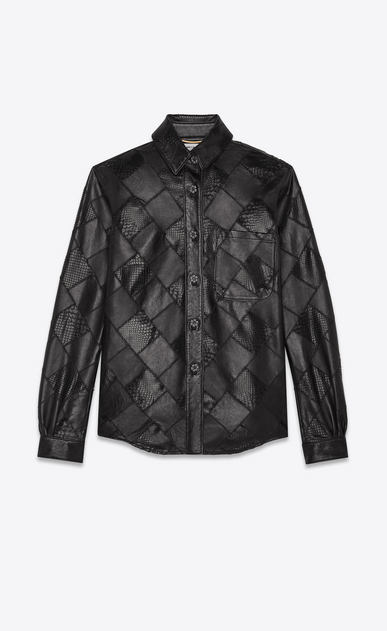 SAINT LAURENT Casual Shirts Woman patchwork shirt of lambskin and python a_V4