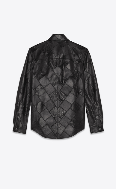 SAINT LAURENT Casual Shirts Woman patchwork shirt of lambskin and python b_V4