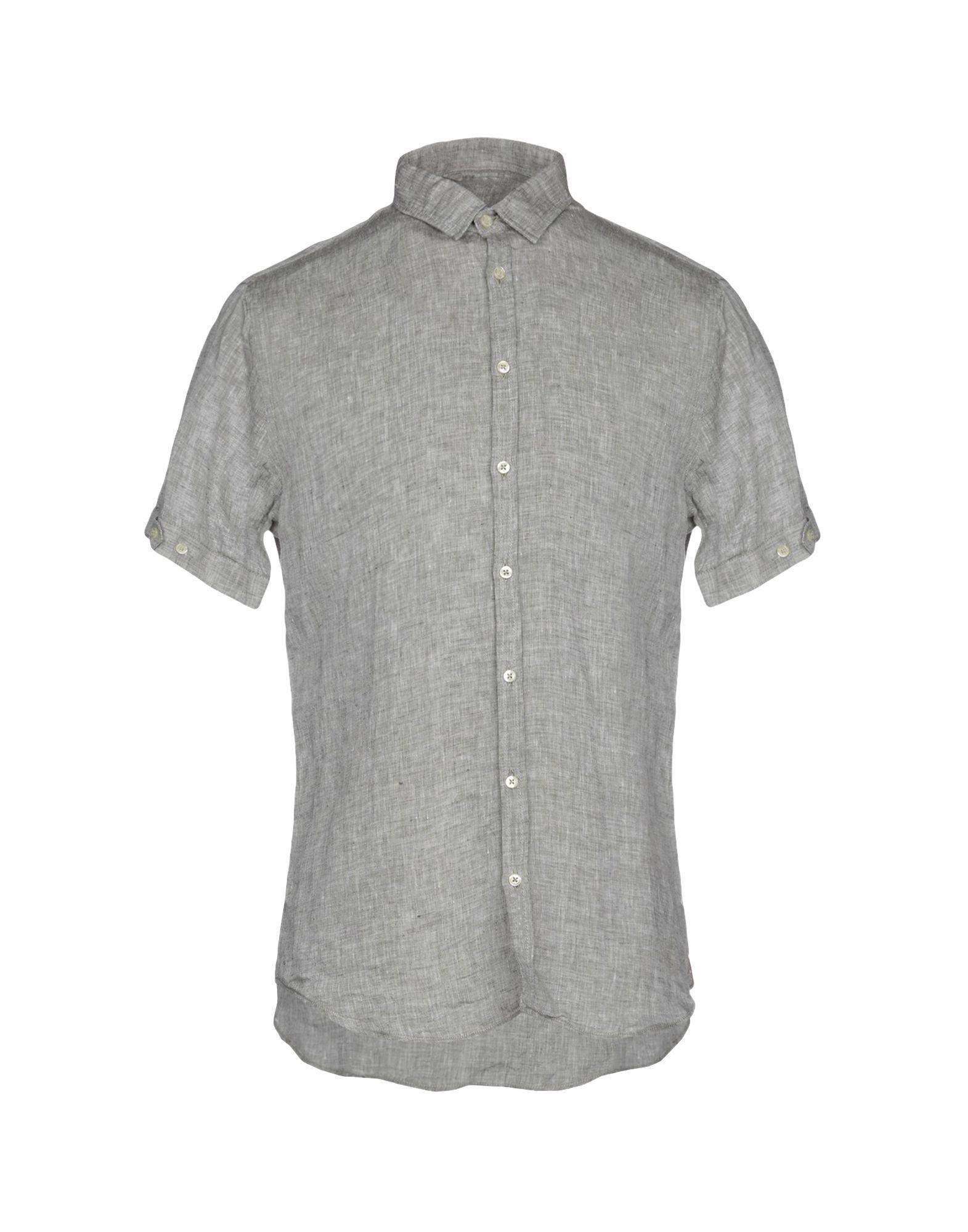 《送料無料》Q1 メンズ シャツ ライトグレー M 麻 100%