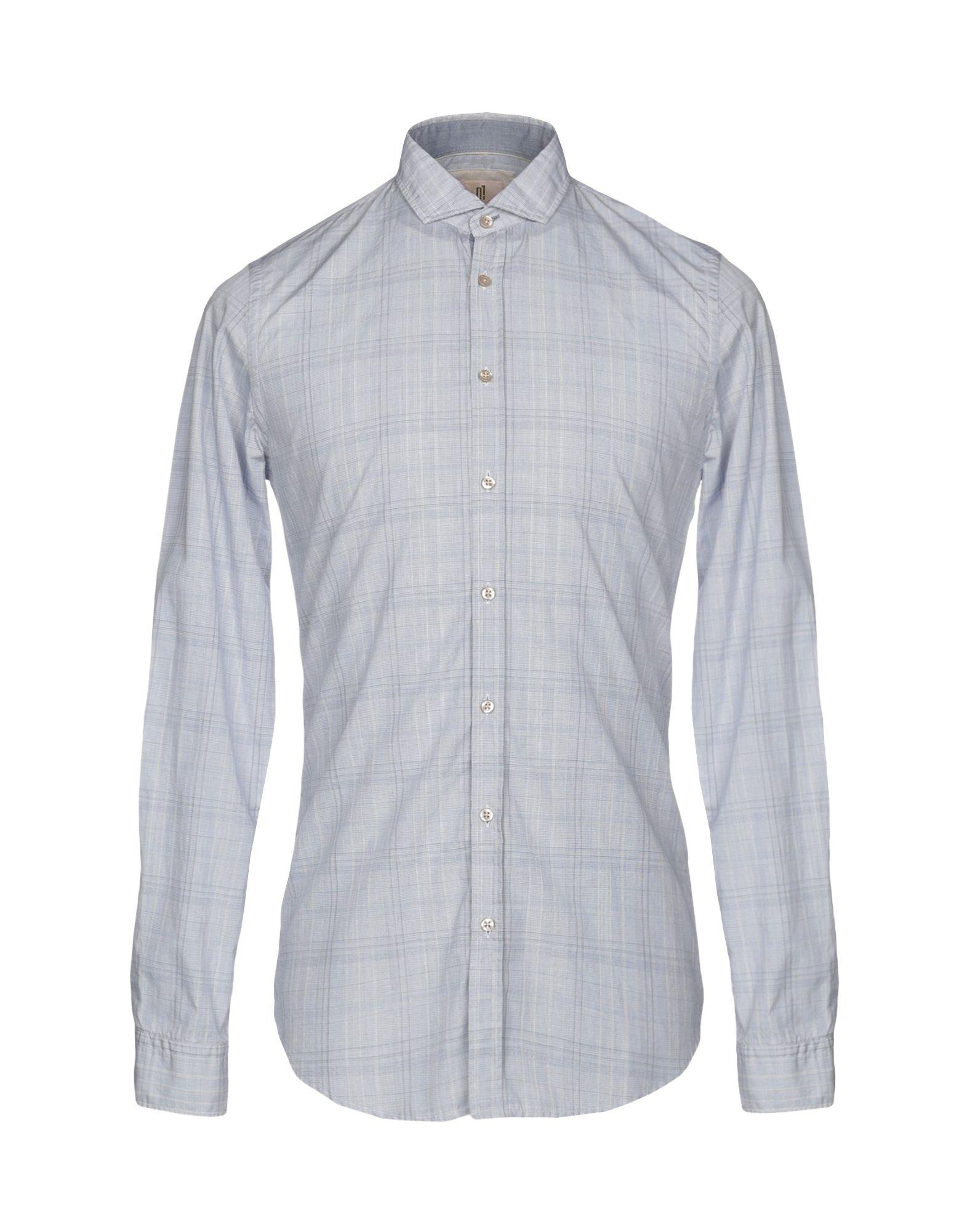 《送料無料》Q1 メンズ シャツ ブルーグレー 38 コットン 100%