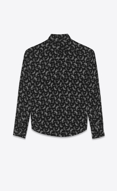 SAINT LAURENT Classic Shirts Man Shirt in black silk with a motorcycle print b_V4