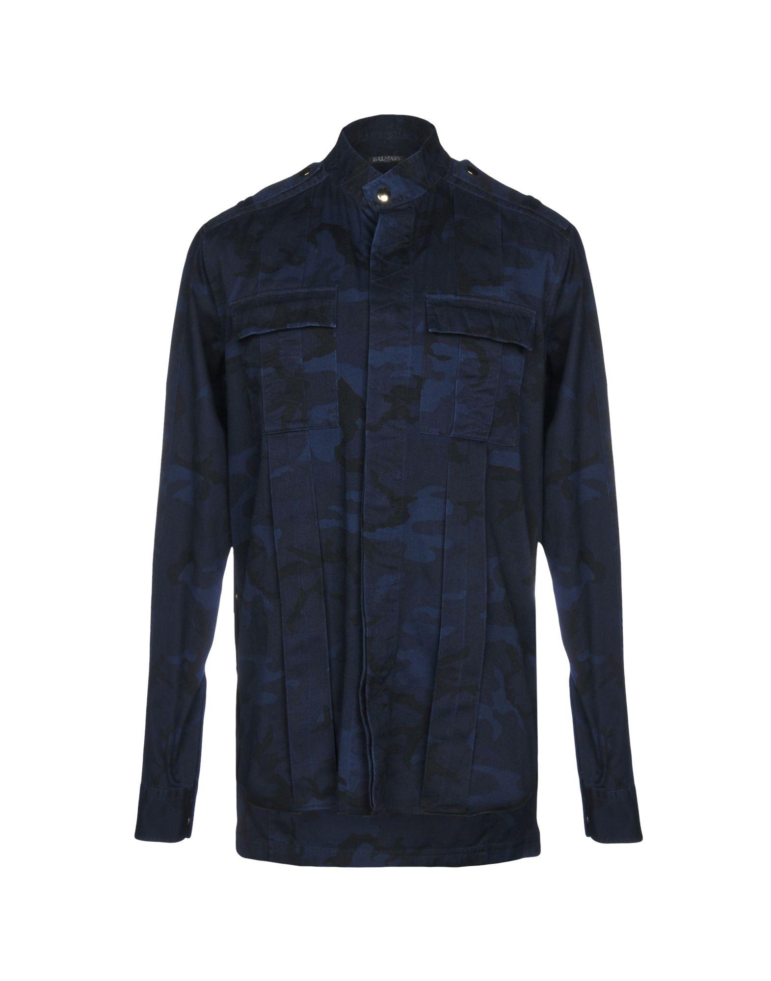 《送料無料》BALMAIN メンズ シャツ ダークブルー 38 コットン 100%