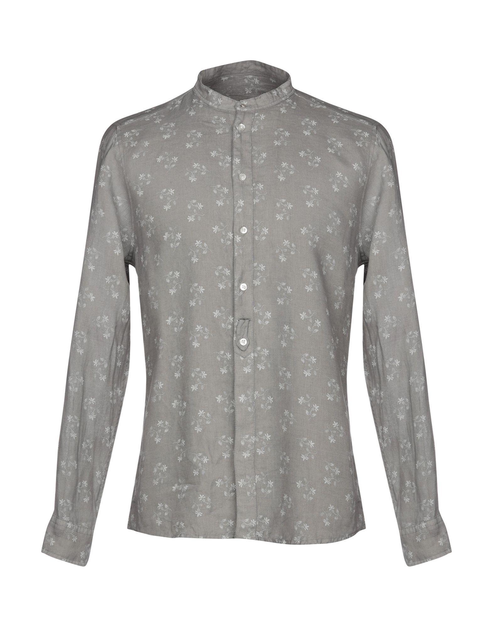 《期間限定セール中》BERNA メンズ シャツ グレー S 100% 麻