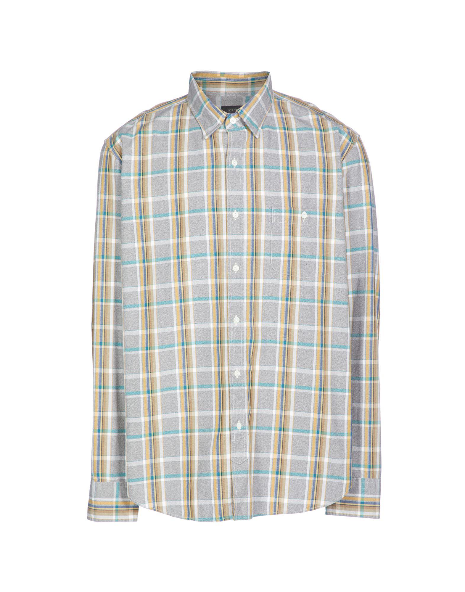 J.CREW Shirts. plain weave, long sleeves, button-down collar, no appliqués, checked, single chest pocket. 100% Cotton