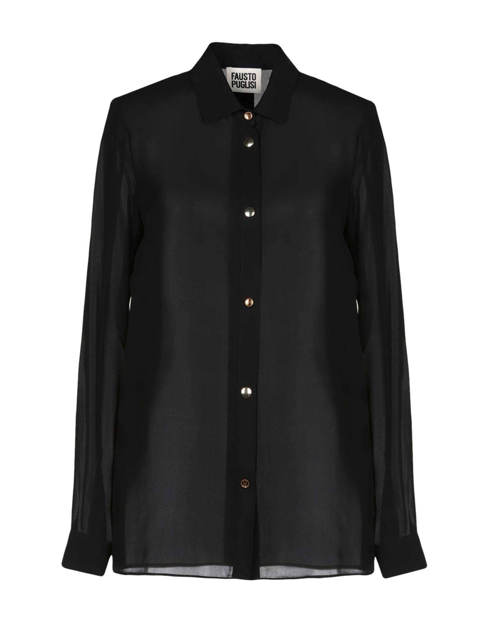 《セール開催中》FAUSTO PUGLISI レディース シャツ ブラック 38 100% シルク