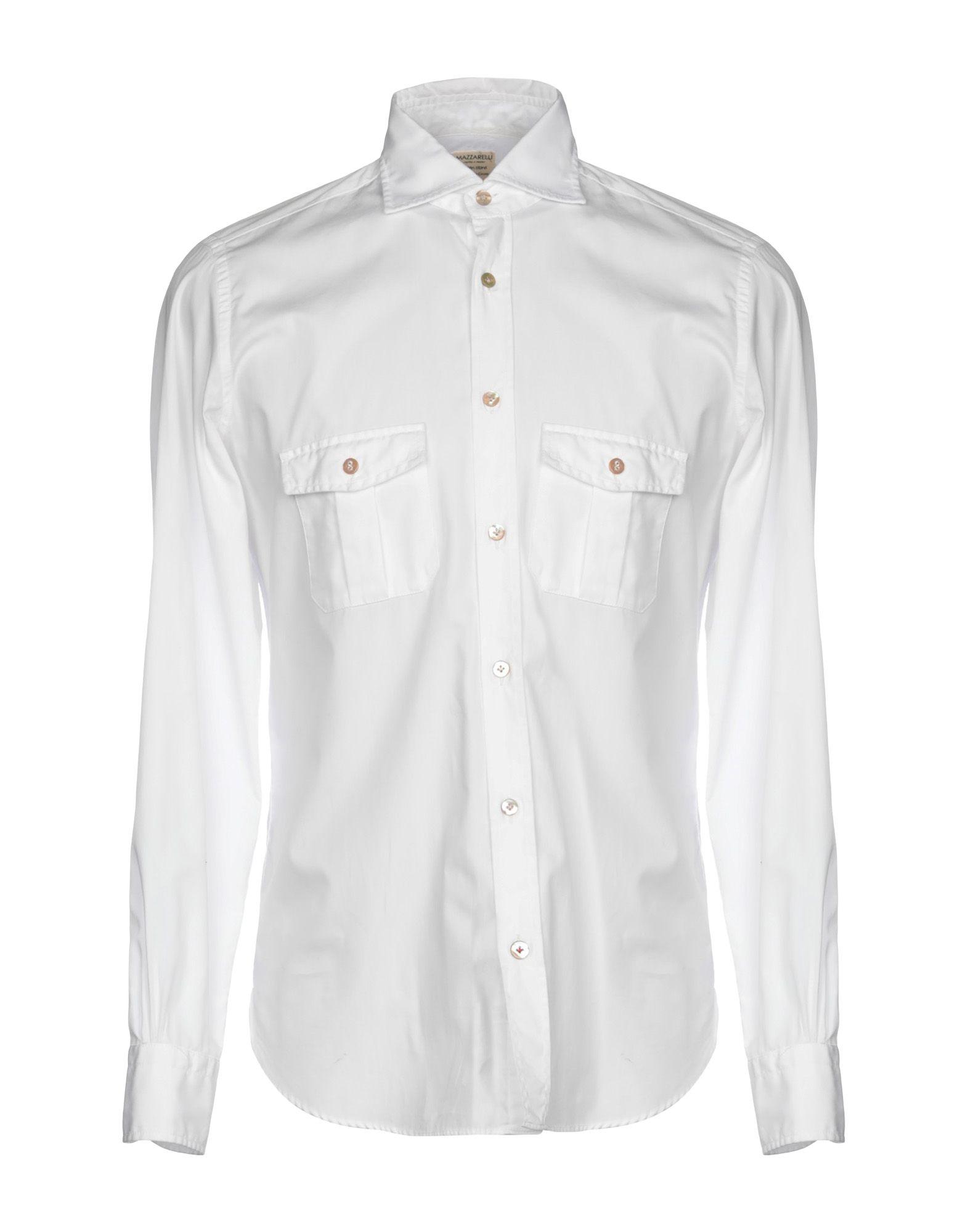 《送料無料》MAZZARELLI メンズ シャツ ホワイト 39 コットン 100%