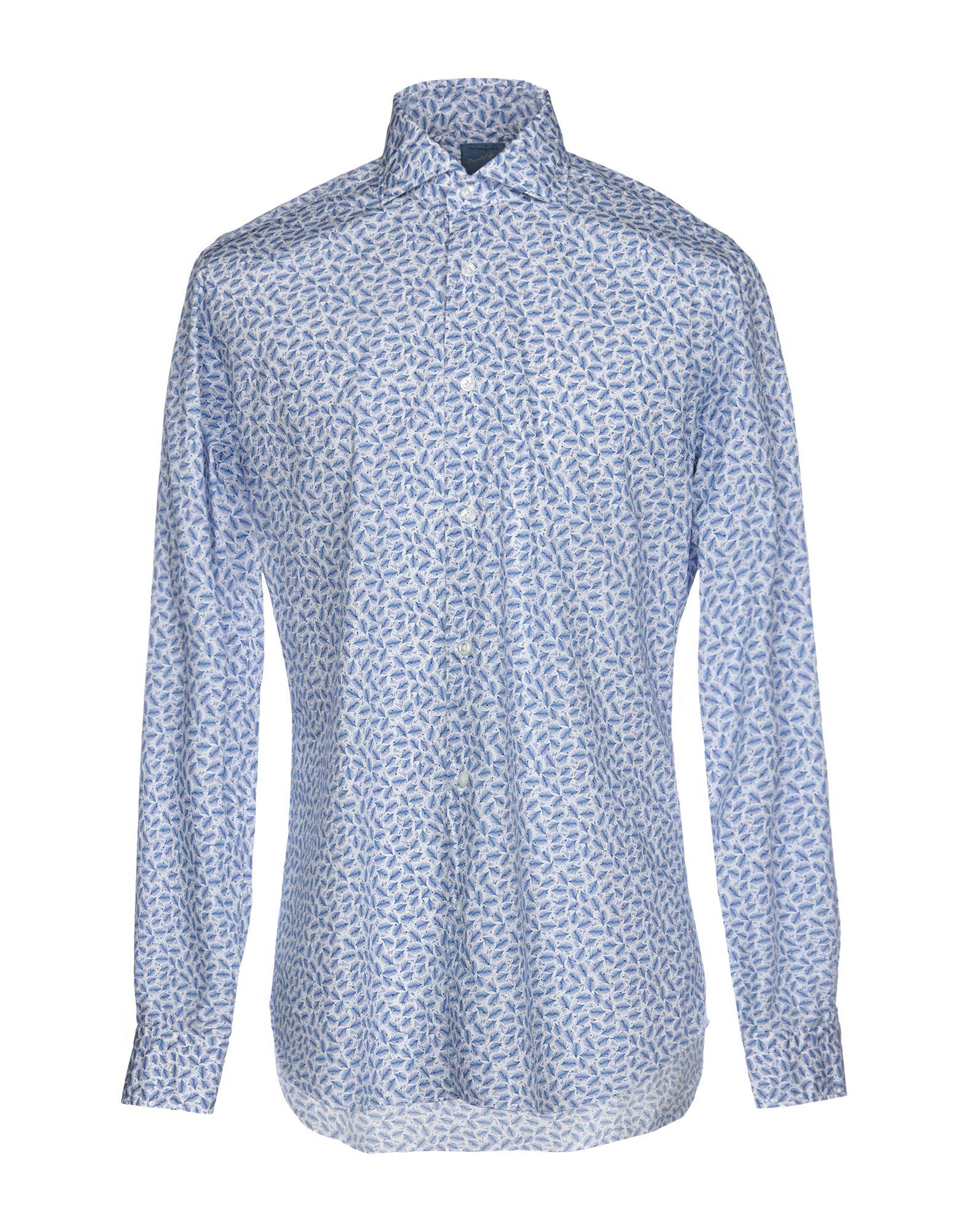 《送料無料》DANDYLIFE by BARBA メンズ シャツ アジュールブルー 41 コットン 100%