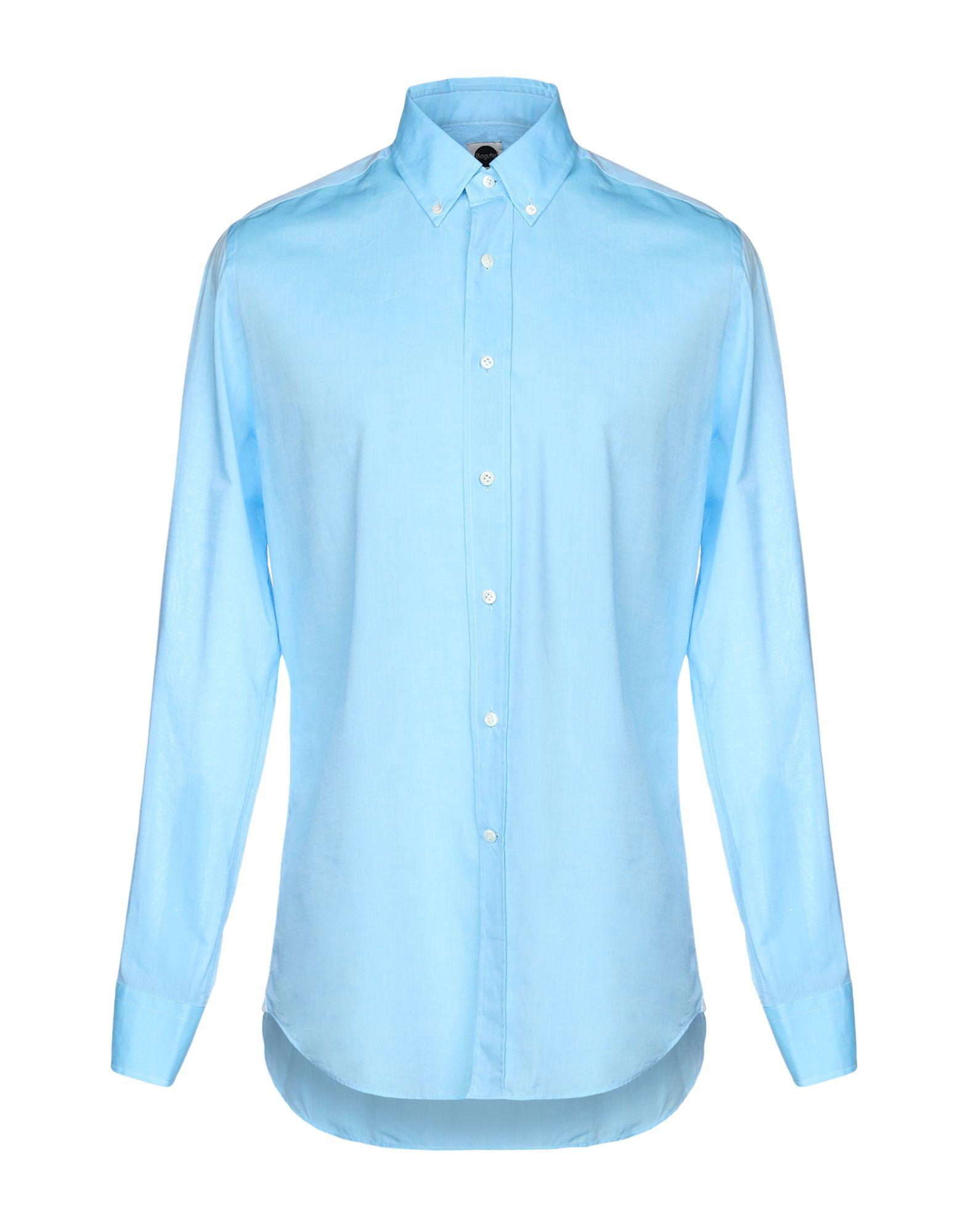 《送料無料》BAGUTTA メンズ シャツ アジュールブルー 40 コットン 100%