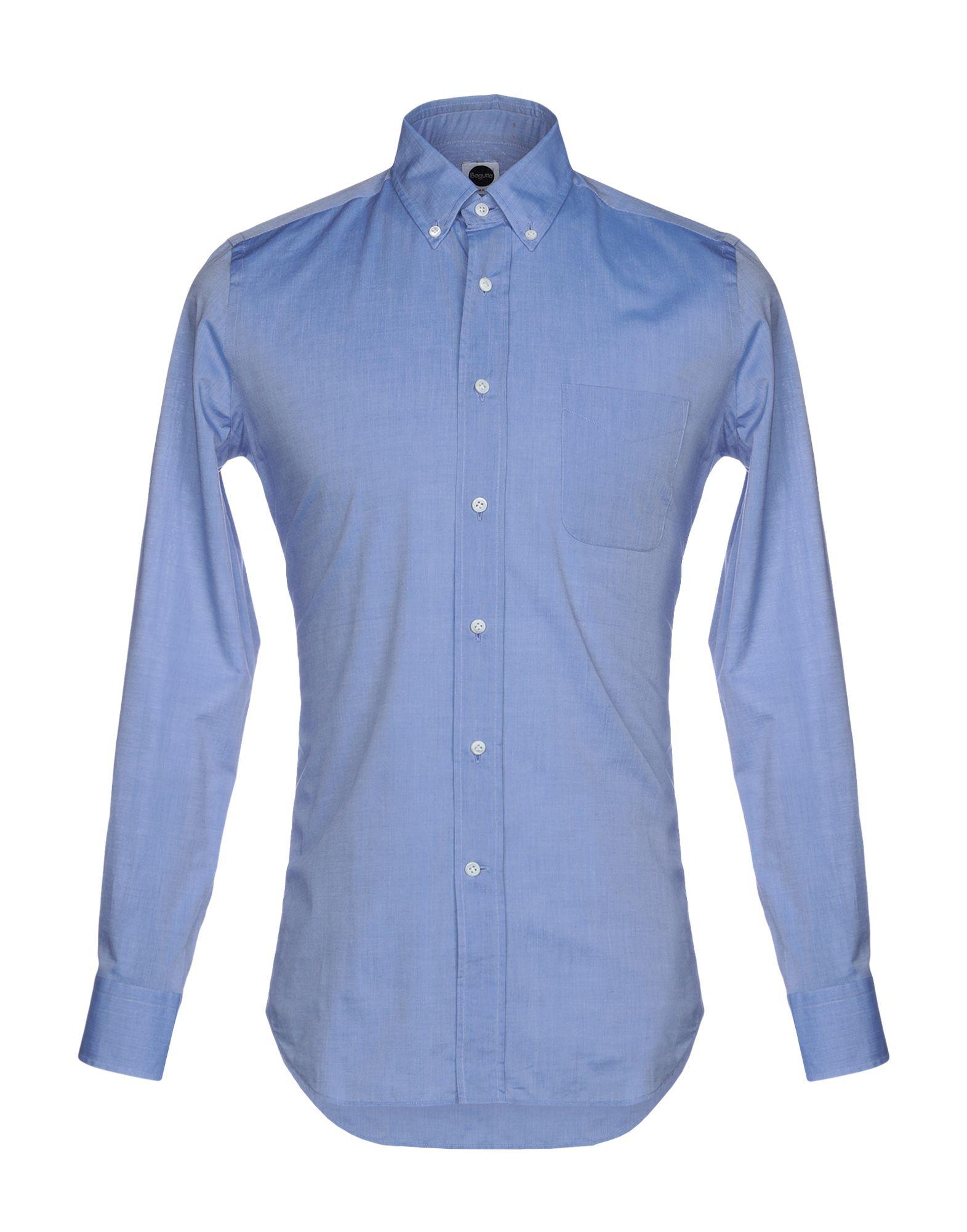 《送料無料》BAGUTTA メンズ シャツ ブルー 37 コットン 100%