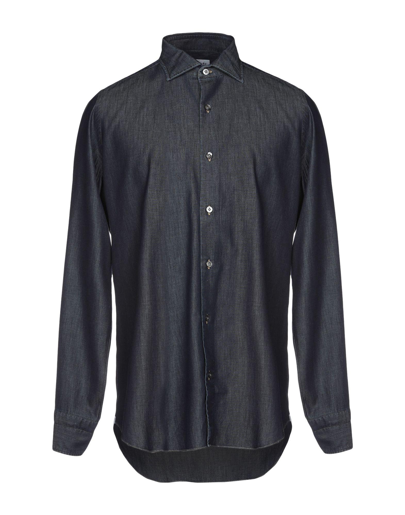 《送料無料》DRUMOHR メンズ デニムシャツ ブルー 41 コットン 100%