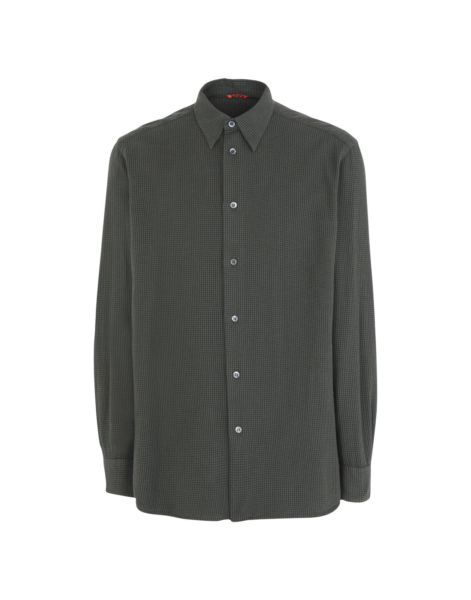 《セール開催中》BARENA メンズ シャツ ダークグリーン 48 コットン 100%