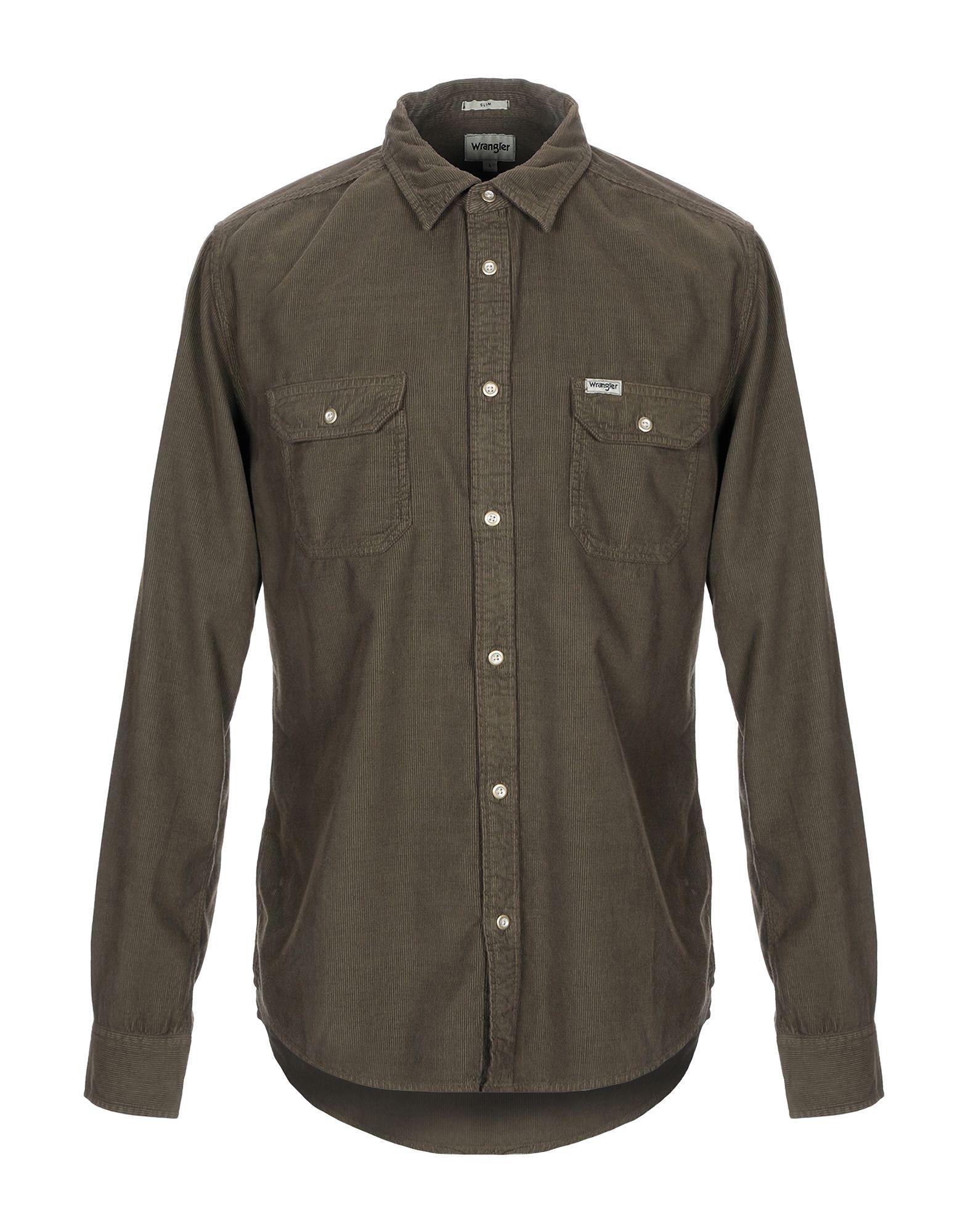 《セール開催中》WRANGLER メンズ シャツ ダークグリーン S コットン 100%