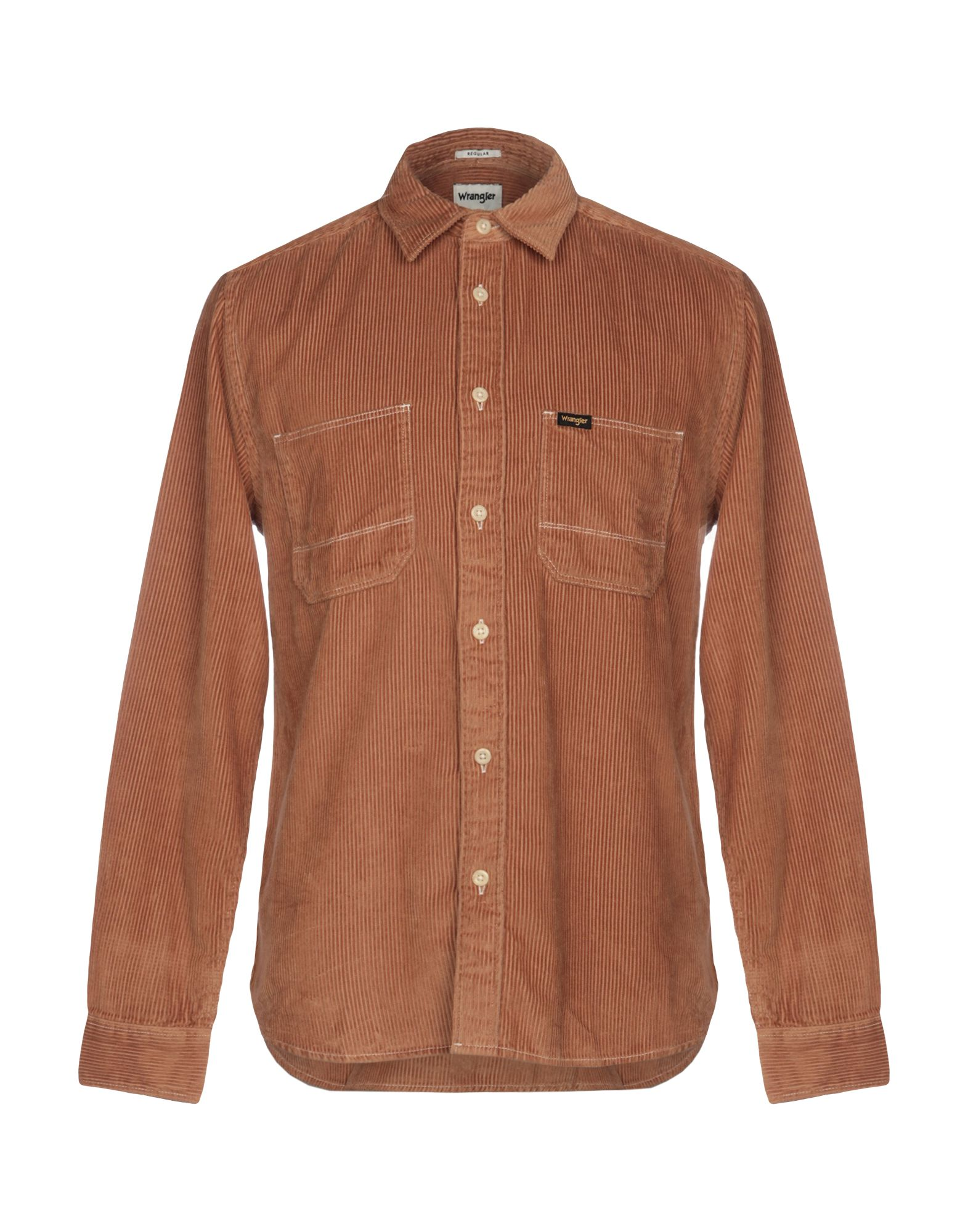 《セール開催中》WRANGLER メンズ シャツ キャメル L コットン 100%