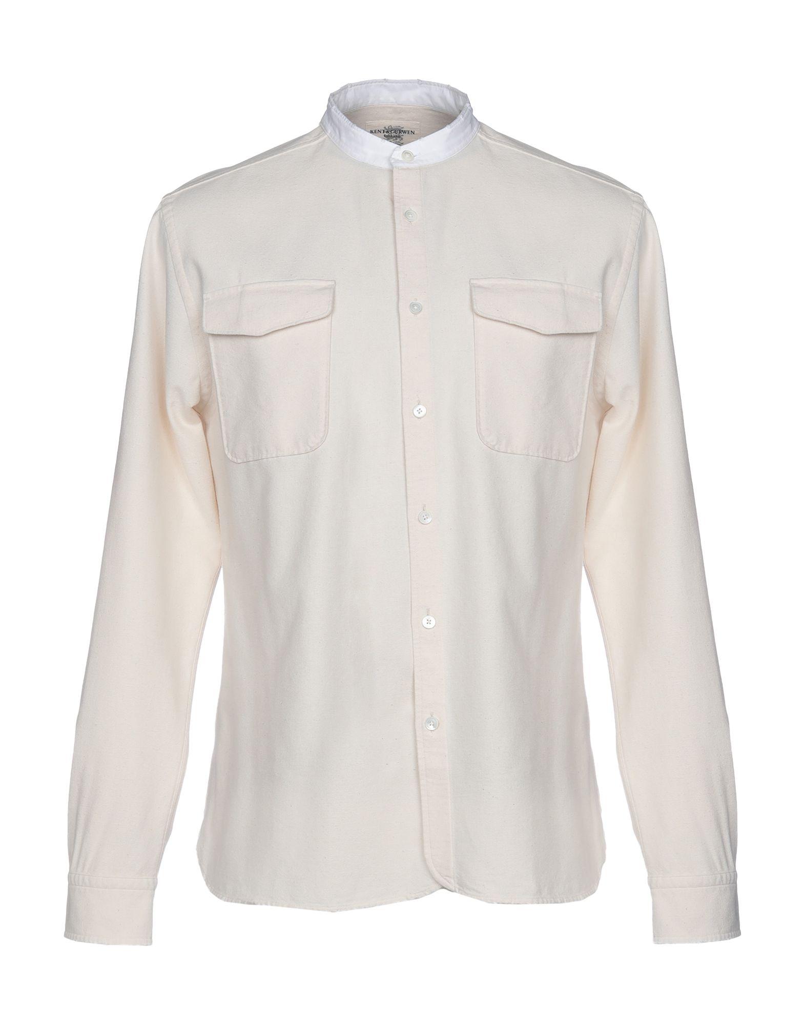 《期間限定セール中》KENT & CURWEN メンズ シャツ アイボリー S 100% コットン
