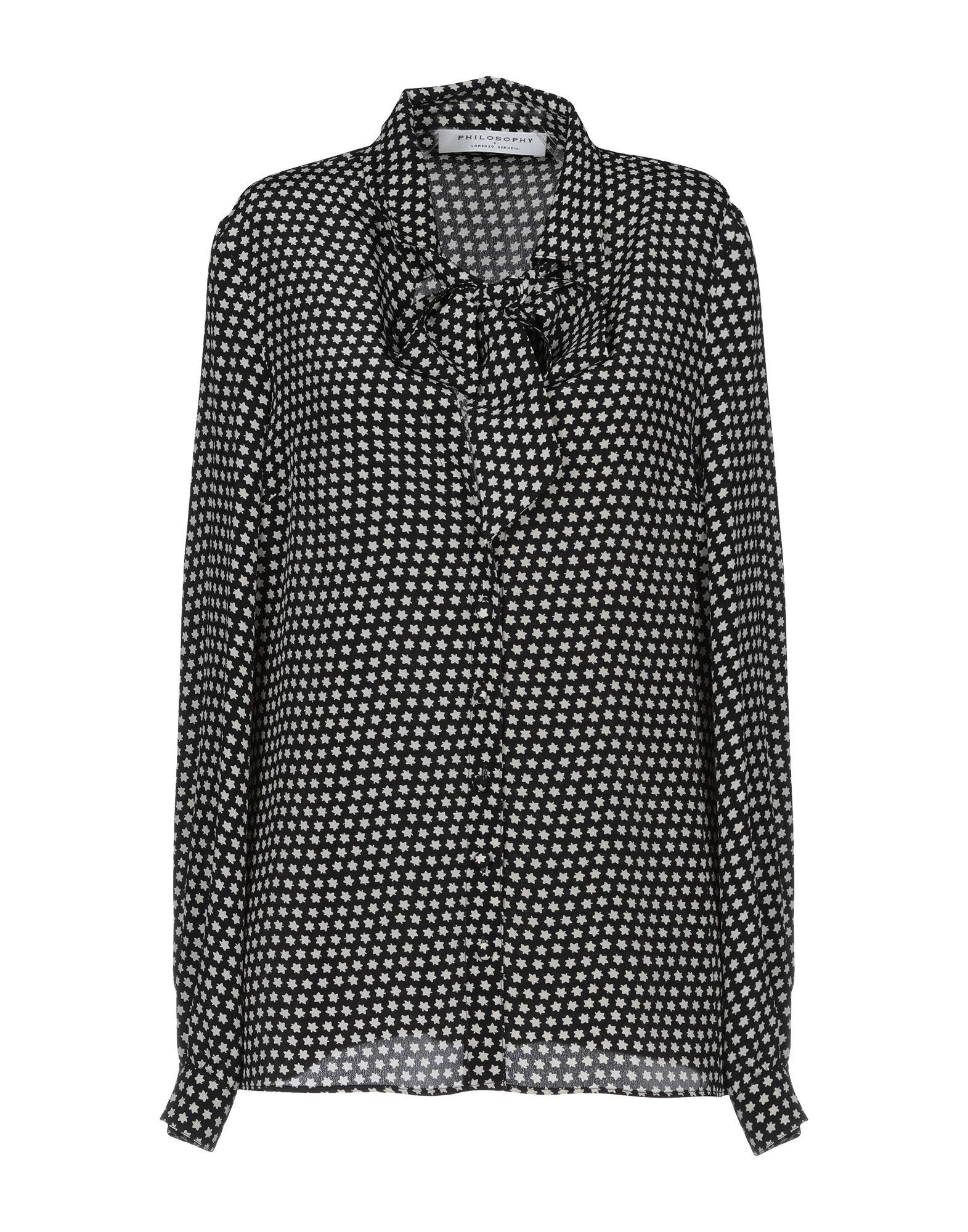 《送料無料》PHILOSOPHY di LORENZO SERAFINI レディース シャツ ブラック 42 シルク 100%