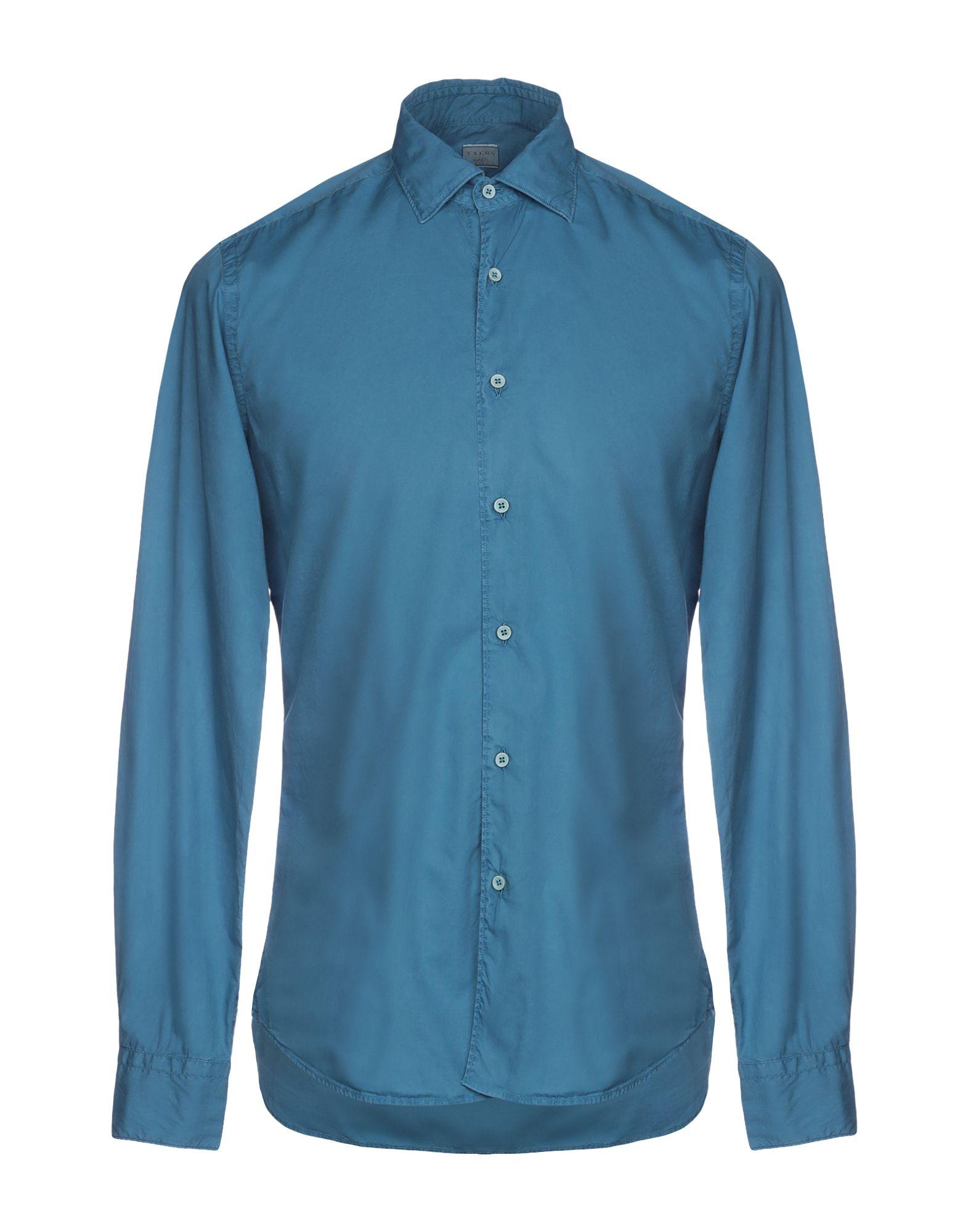 《送料無料》XACUS メンズ シャツ パステルブルー 38 コットン 100%