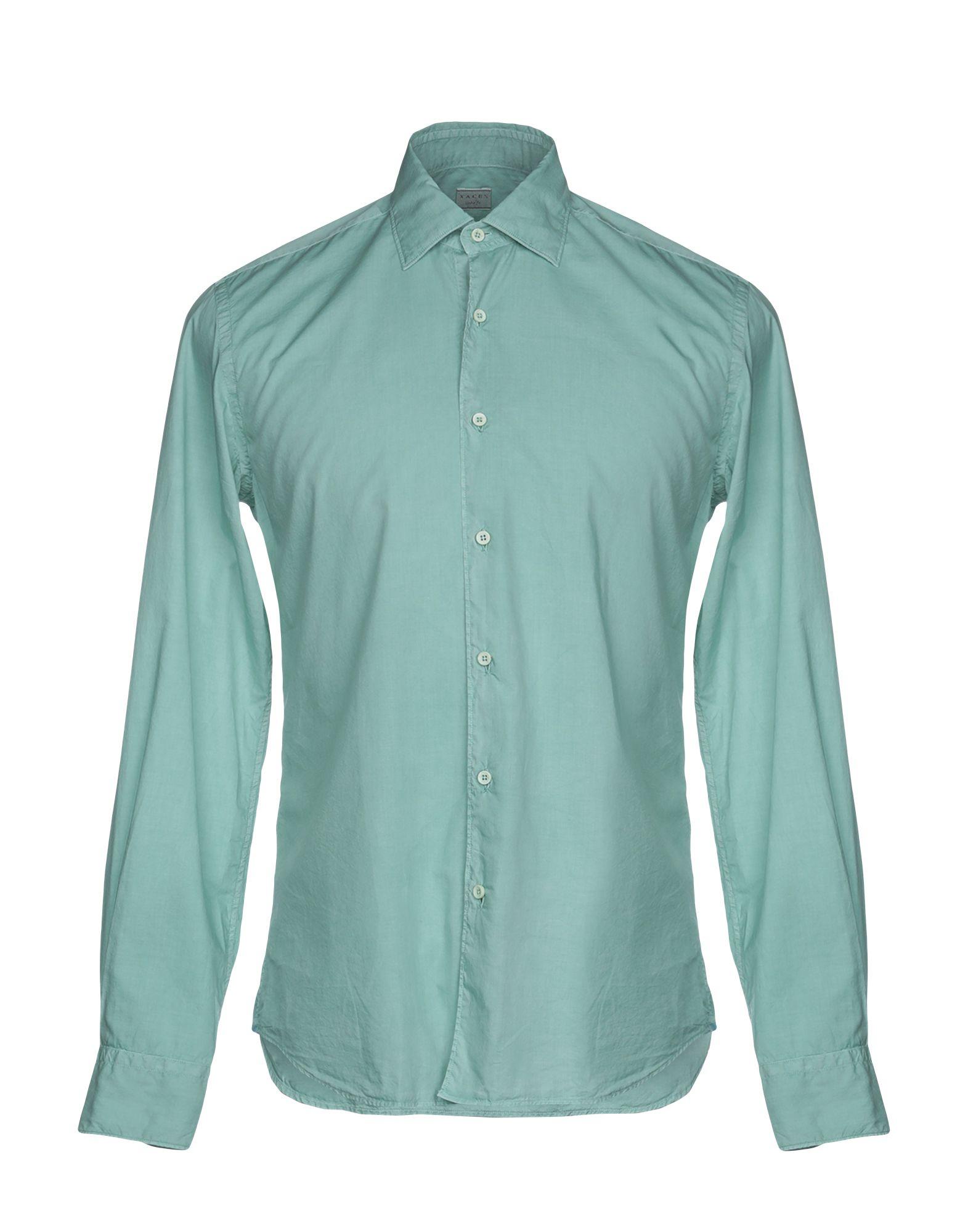 《送料無料》XACUS メンズ シャツ ライトグリーン 38 コットン 100%