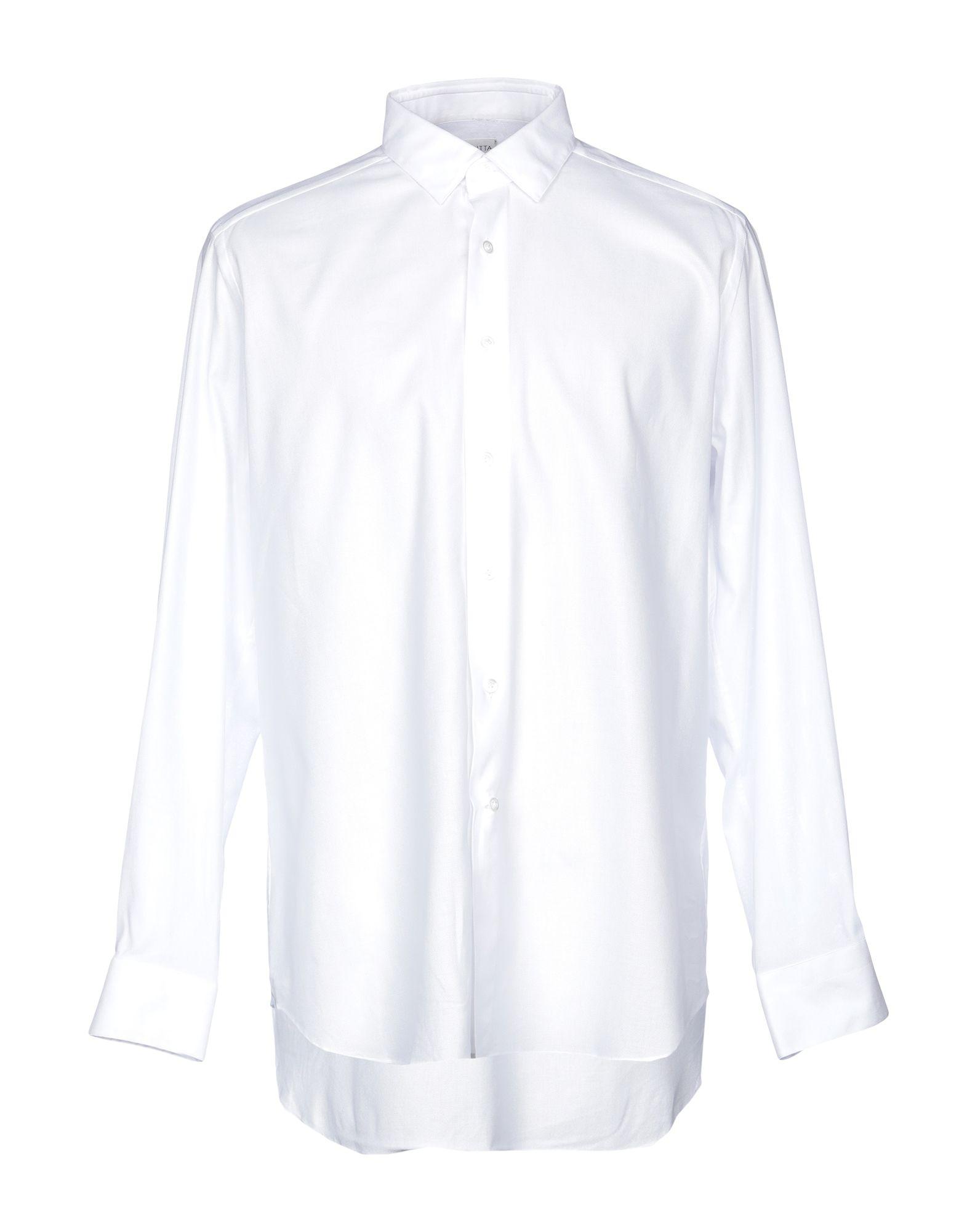 《送料無料》BAGUTTA メンズ シャツ ホワイト 43 コットン 100%