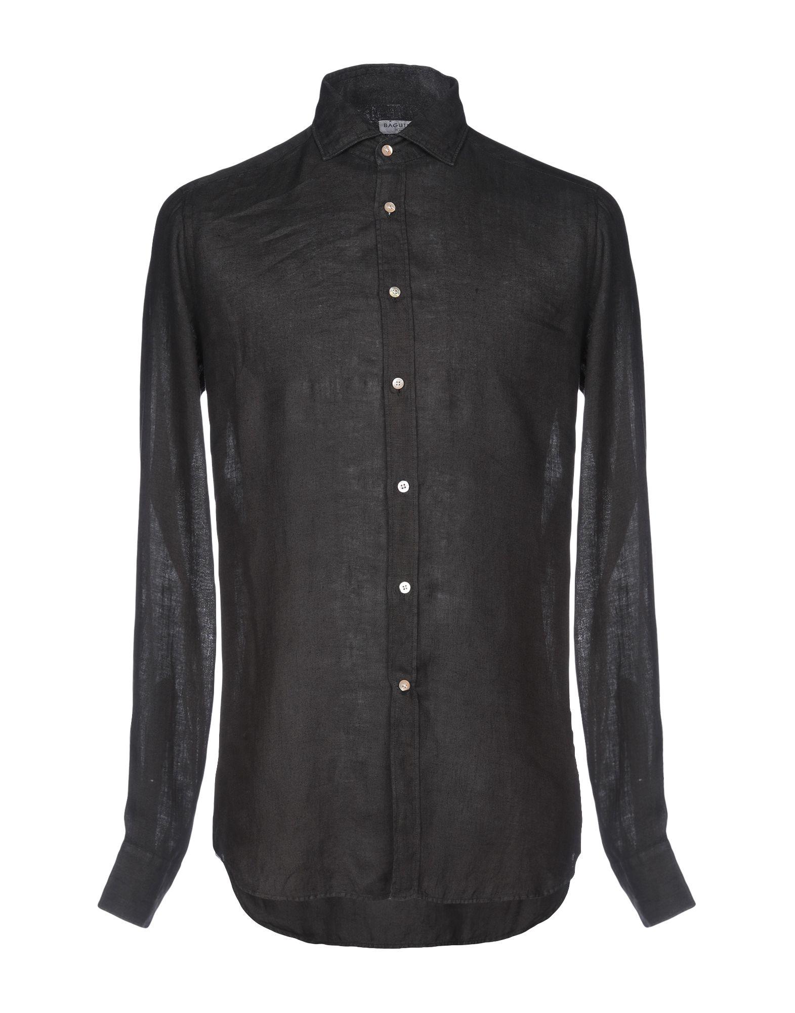 《送料無料》BAGUTTA メンズ シャツ ブラック S 麻 100%