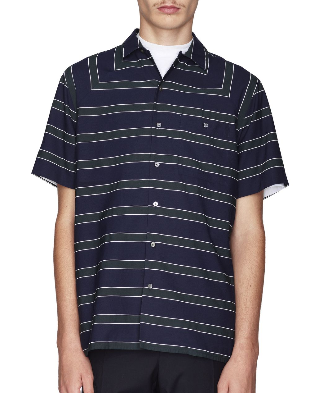 NAVY BLUE STRIPED BOWLING SHIRT - Lanvin