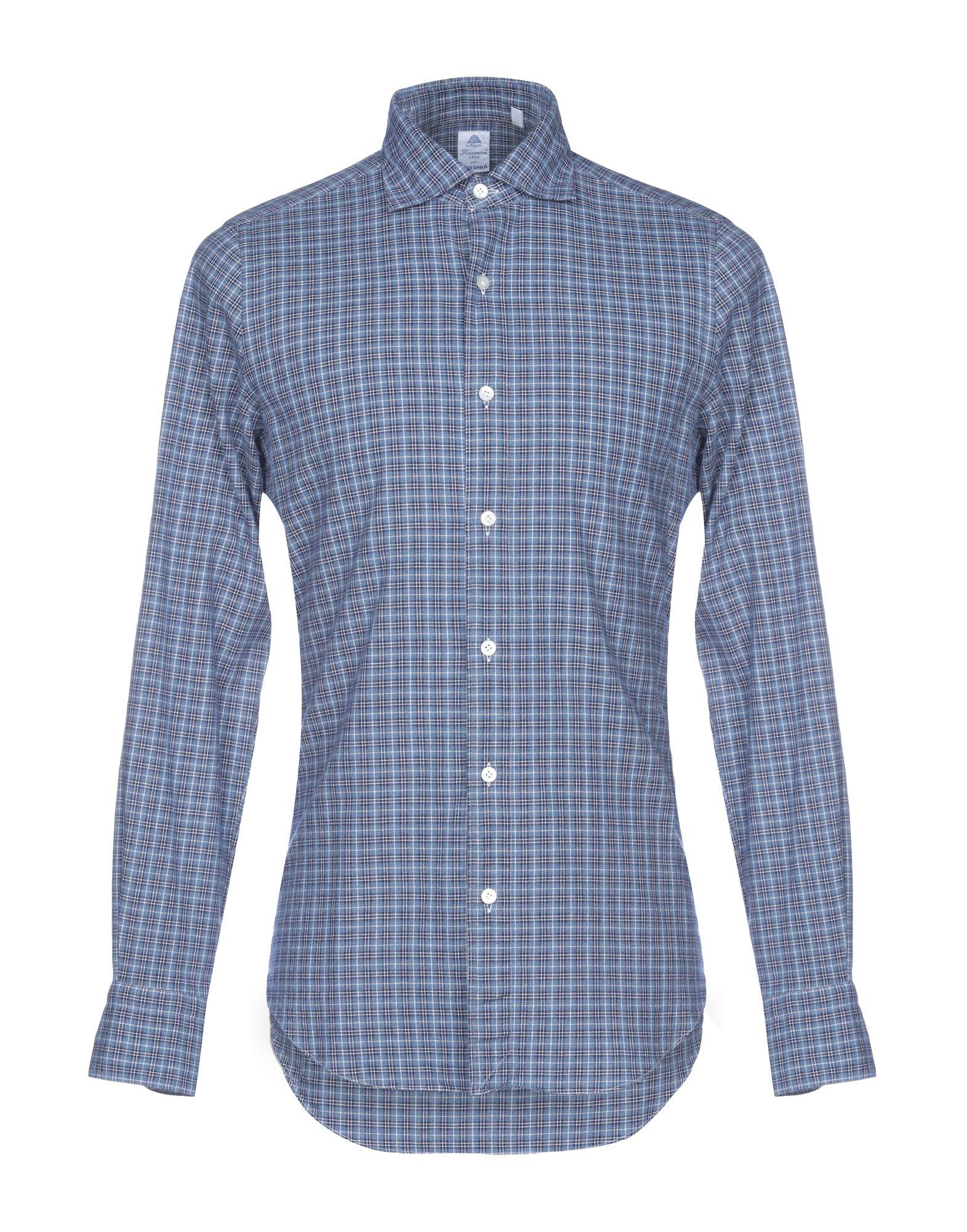 《送料無料》FINAMORE 1925 メンズ シャツ ブルーグレー 38 コットン 100%