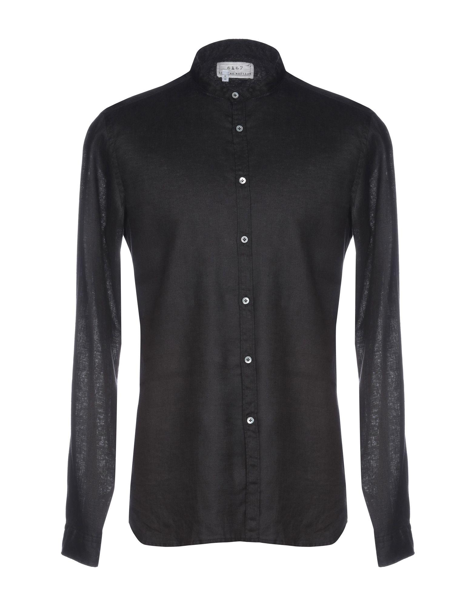 《送料無料》6167 メンズ シャツ ブラック 41 麻 100%