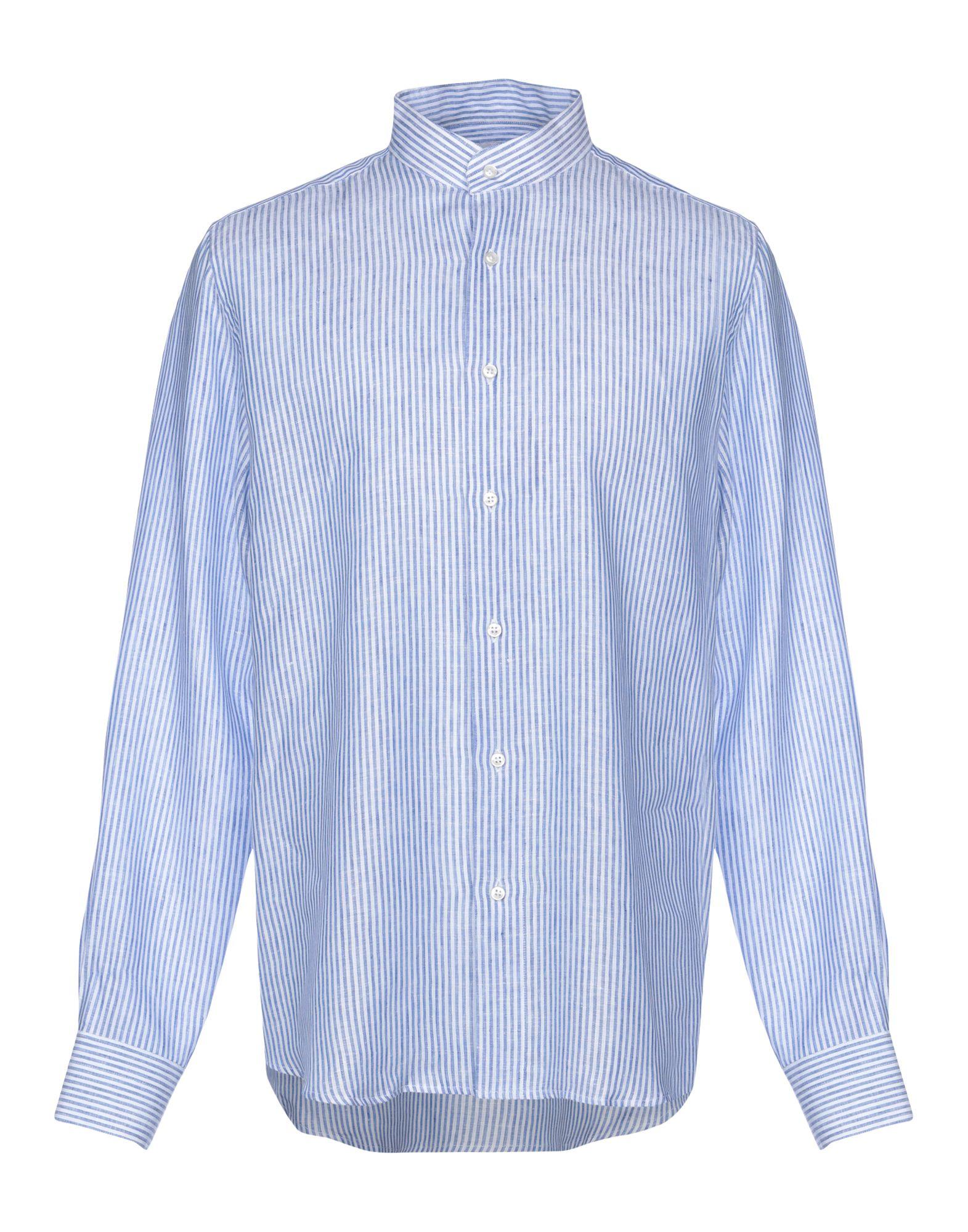 《セール開催中》INDIPENDENT BRAND メンズ シャツ ブルー 42 麻 100%