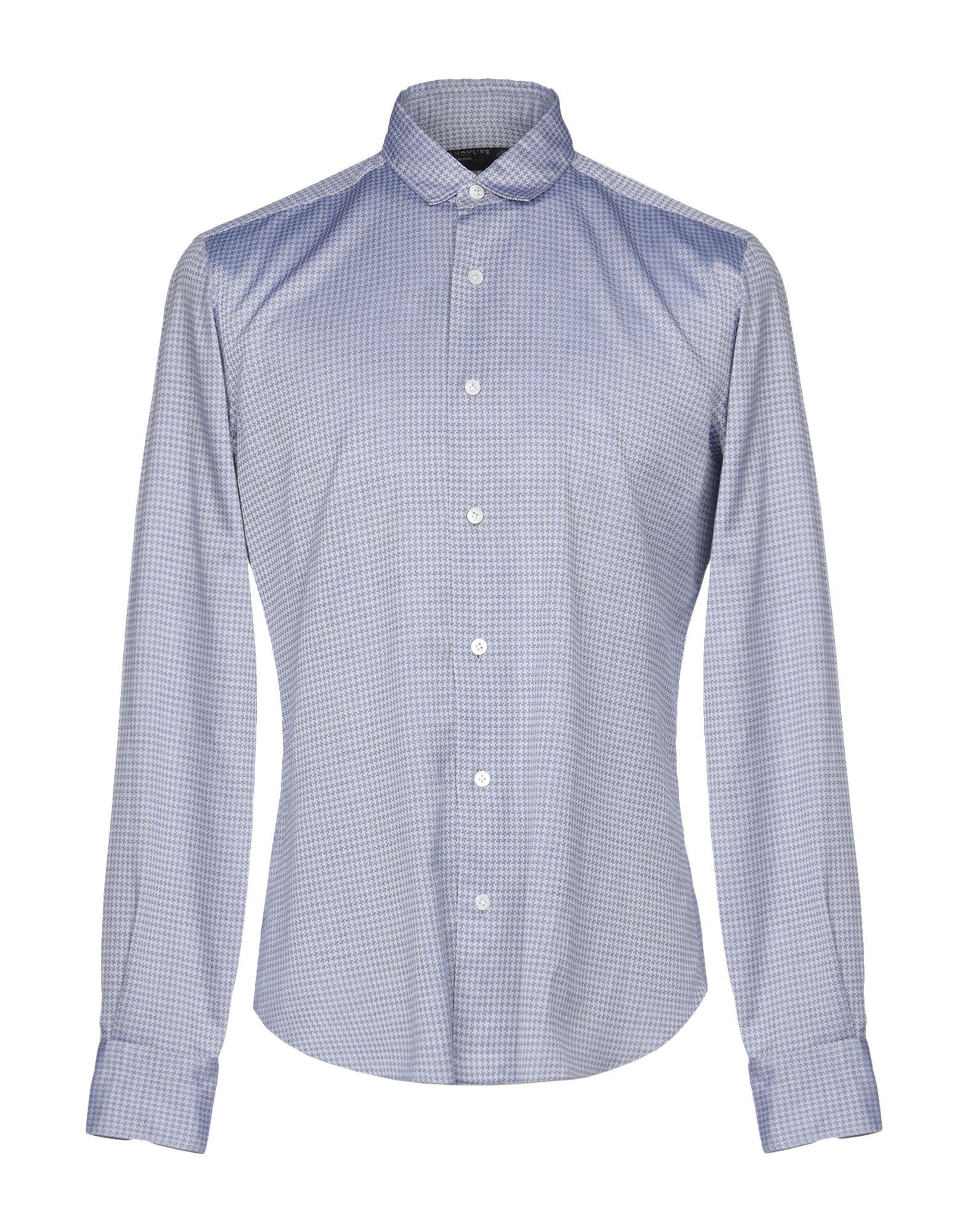 《送料無料》DANDYLIFE by BARBA メンズ シャツ ブルーグレー 39 コットン 100%