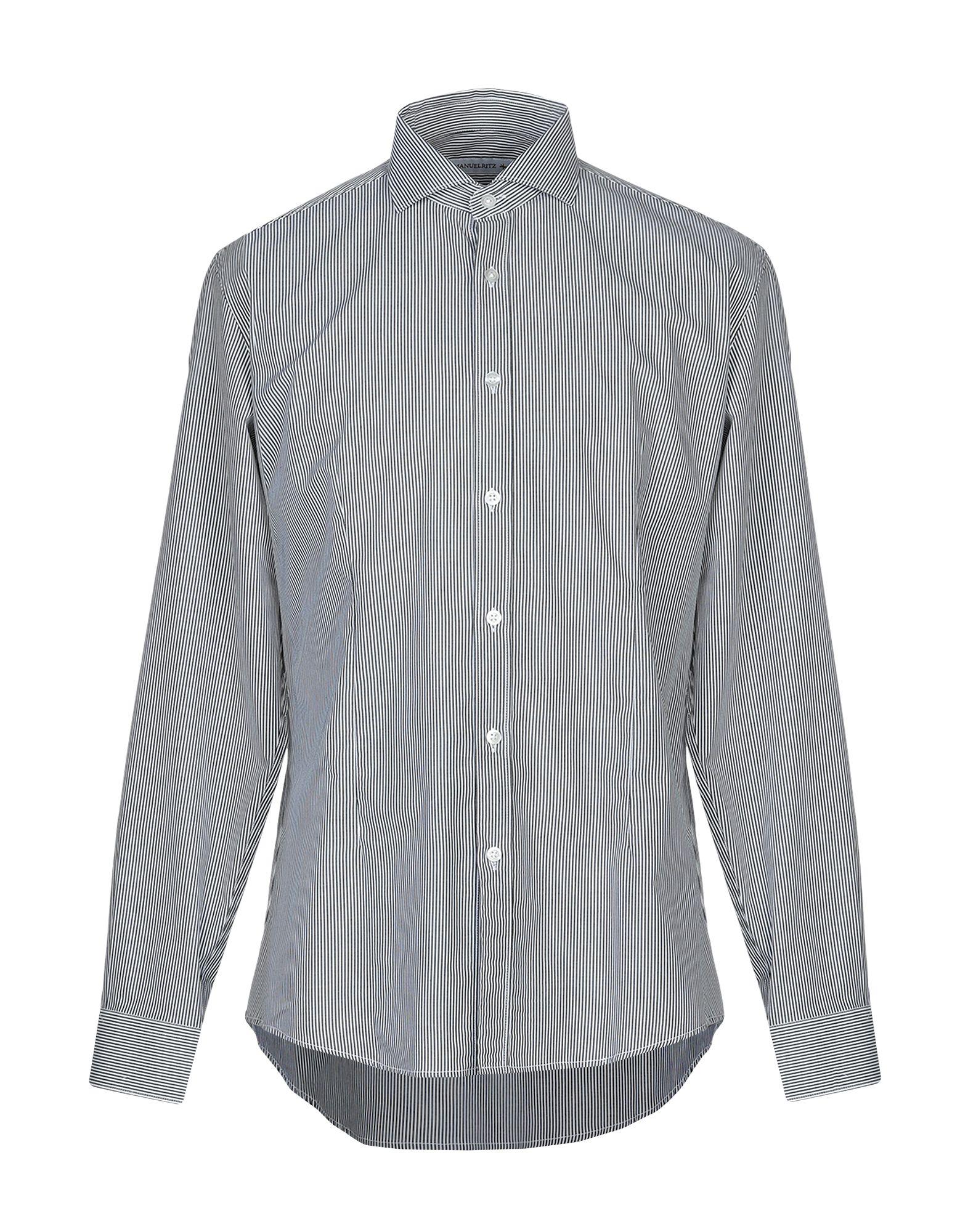 《送料無料》MANUEL RITZ メンズ シャツ スチールグレー 39 コットン 100%
