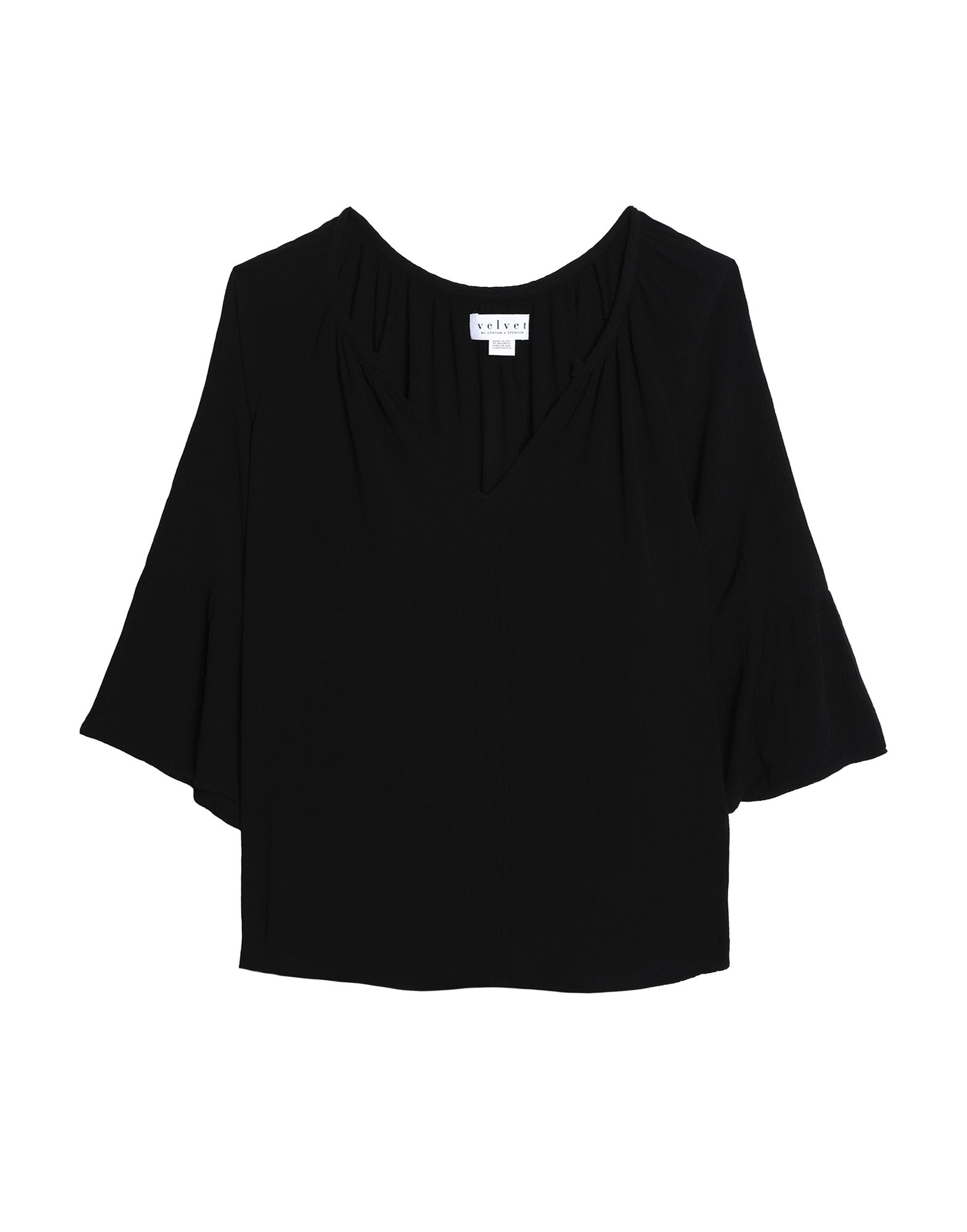 VELVET by GRAHAM & SPENCER Блузка v neck lace trim velvet blouse