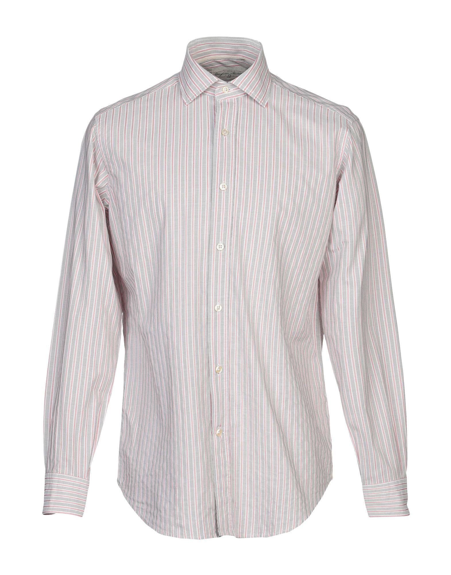 《送料無料》OPIFICIO MILANO M メンズ シャツ グレー 40 コットン 100%