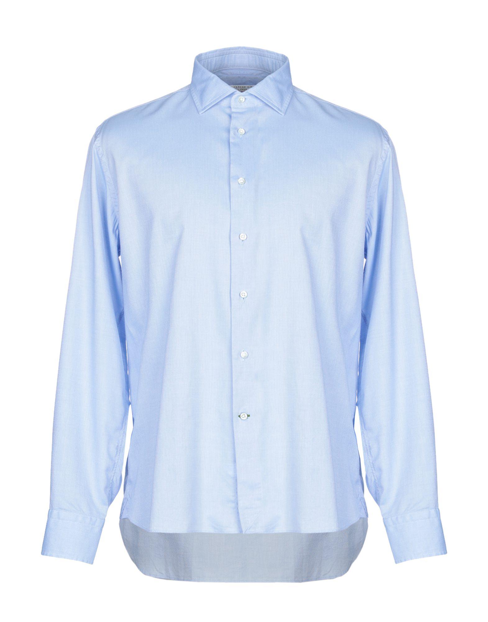 《期間限定セール中》G.B. CENERE メンズ シャツ アジュールブルー 43 コットン 100%