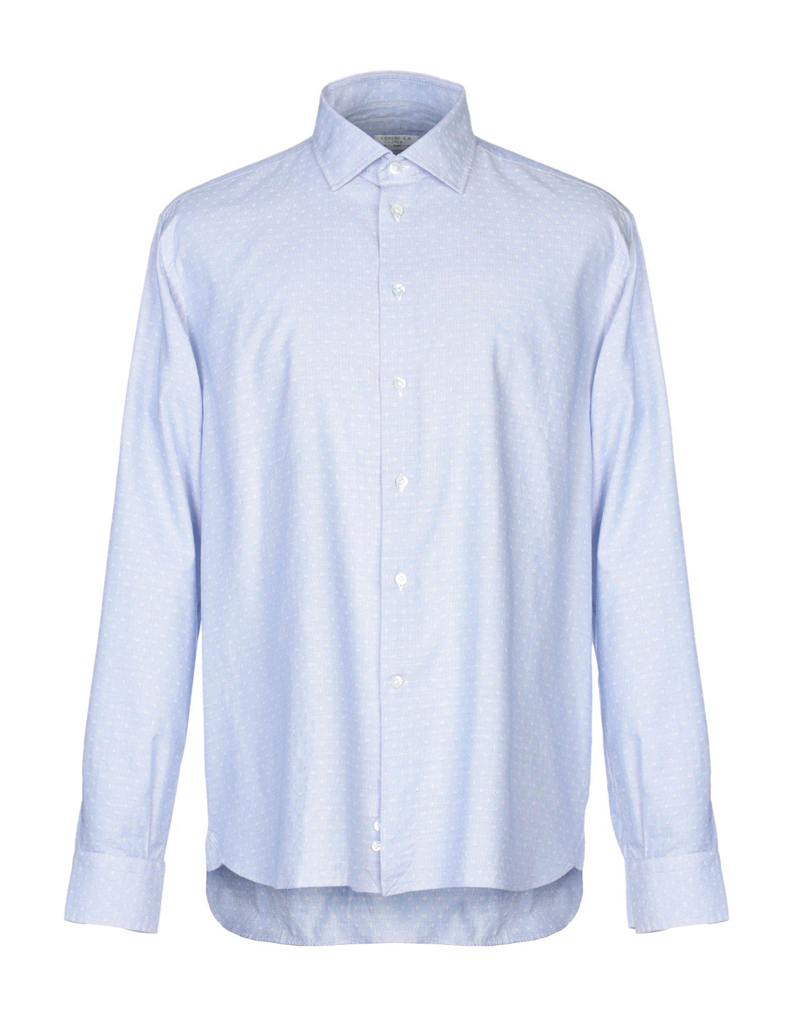 《期間限定セール中》G.B. CENERE メンズ シャツ ブルー 43 コットン 100%