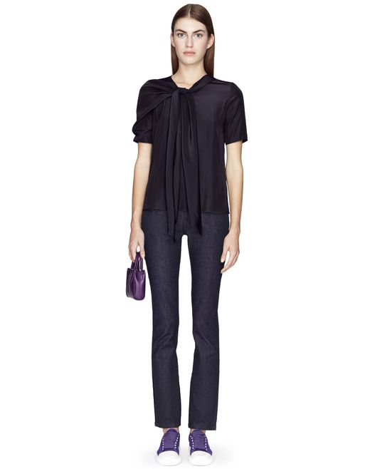 MIDNIGHT BLUE SCARF-COLLAR BLOUSE - Lanvin