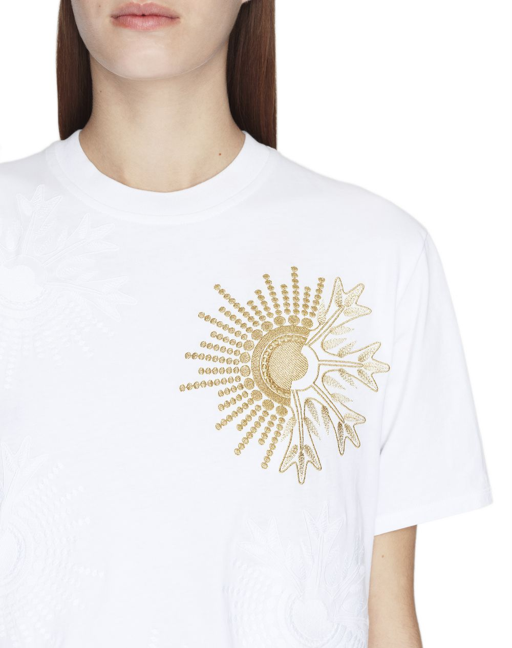 WHITE EMBROIDERED JERSEY T-SHIRT - Lanvin
