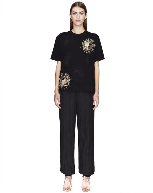 BLACK EMBROIDERED JERSEY T-SHIRT - Lanvin