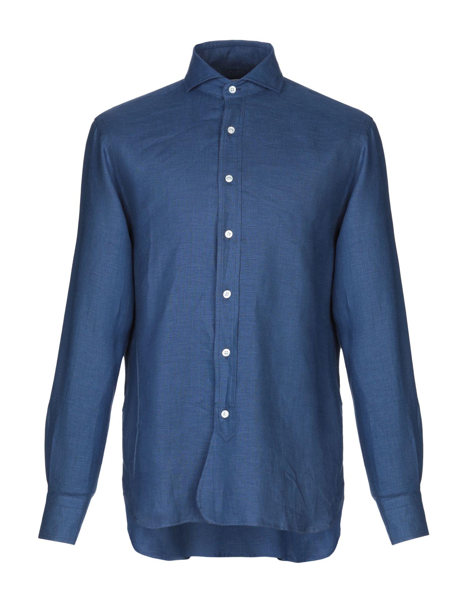 《送料無料》DOPPIAA メンズ シャツ ブルー 40 麻 100%