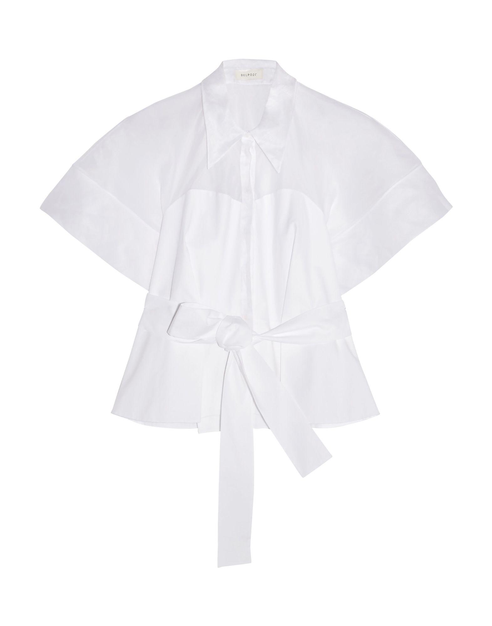 《送料無料》DELPOZO レディース シャツ ホワイト 36 コットン 100%