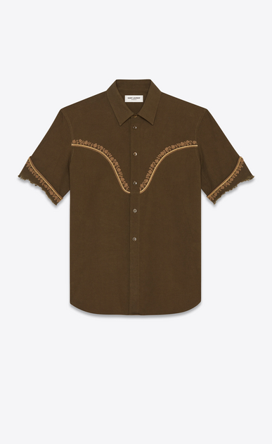 Western-style shirt in vintage cotton with flower embroidery