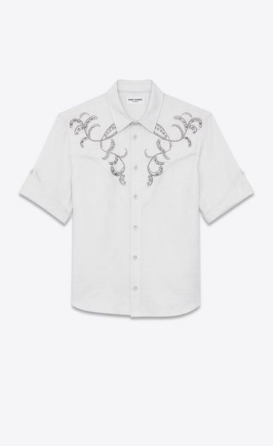 Western-style bandana jacquard shirt in embroidered cotton
