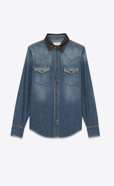 Western-style shirt in denim and leather