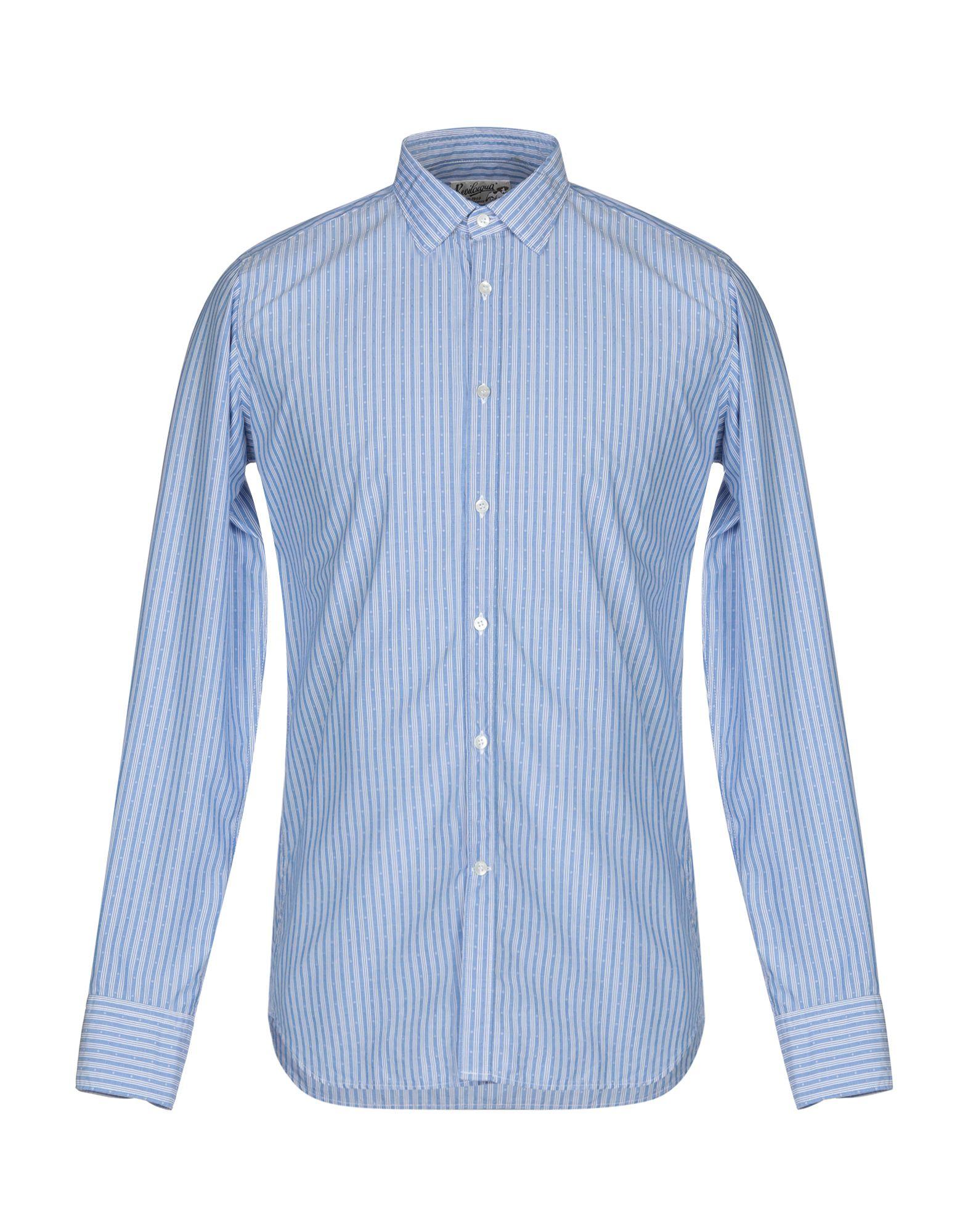 《送料無料》BEVILACQUA メンズ シャツ ブルーグレー S コットン 100%